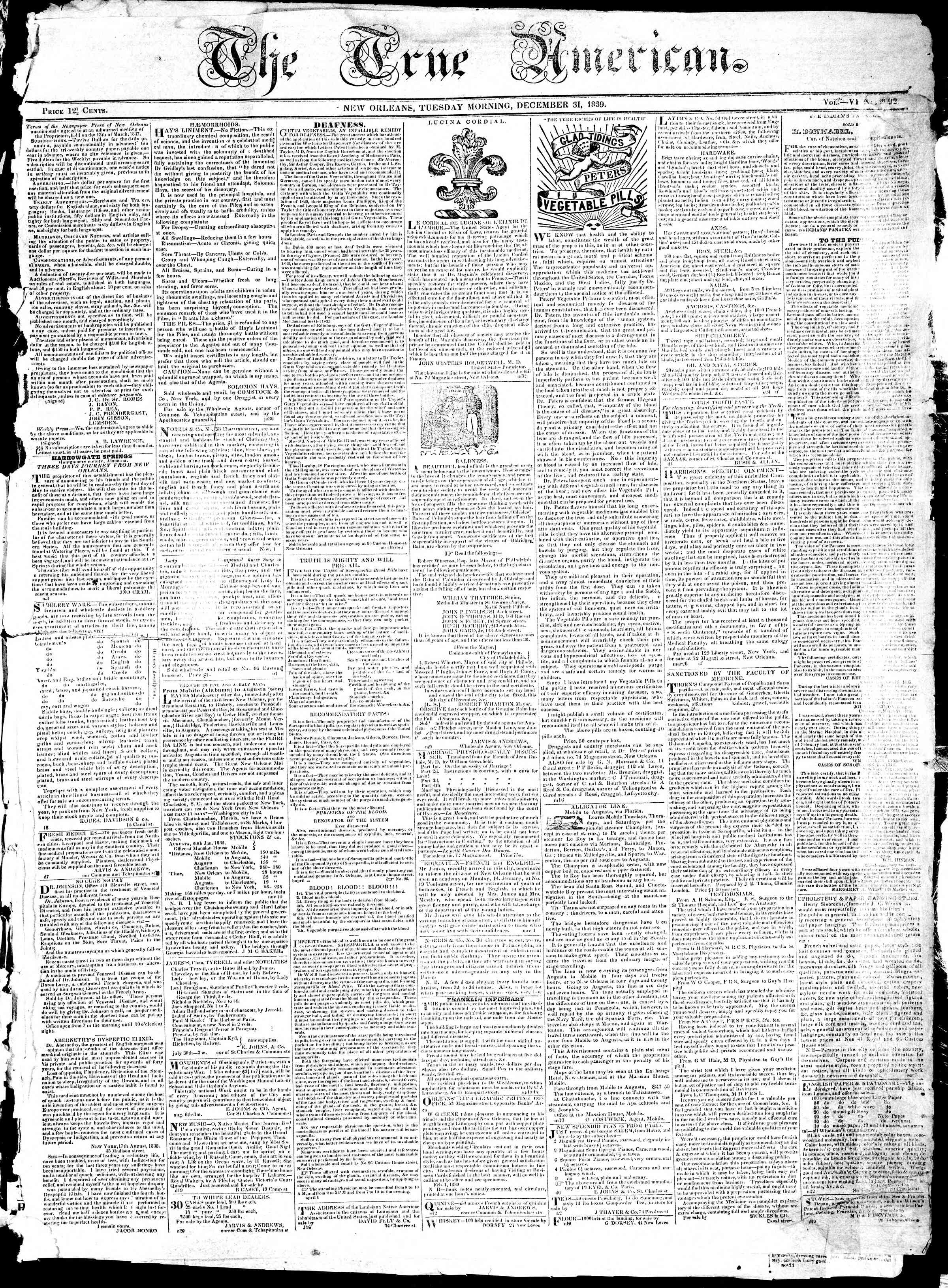 Newspaper of True American dated December 31, 1839 Page 1