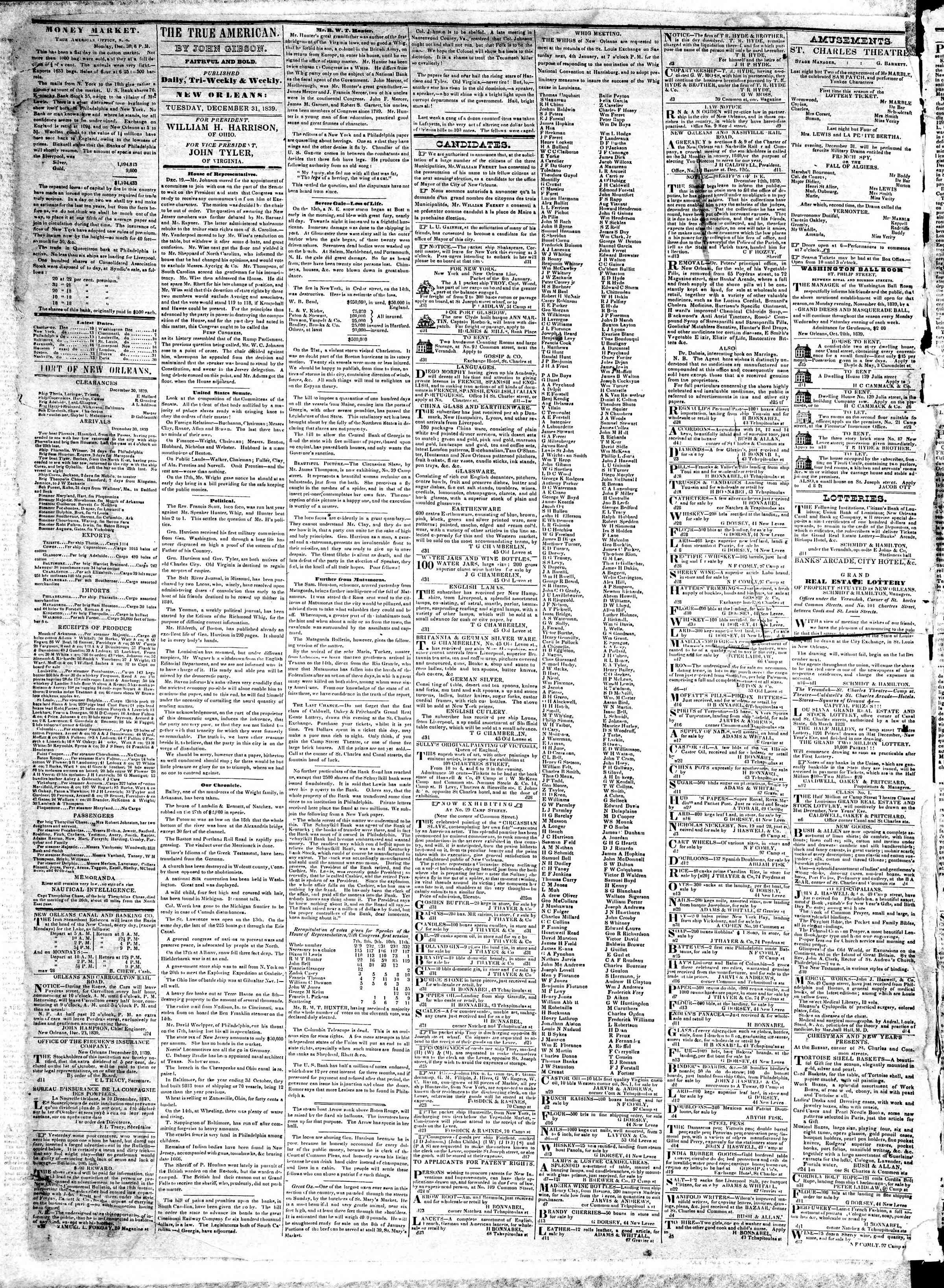 December 31, 1839 Tarihli True American Gazetesi Sayfa 2