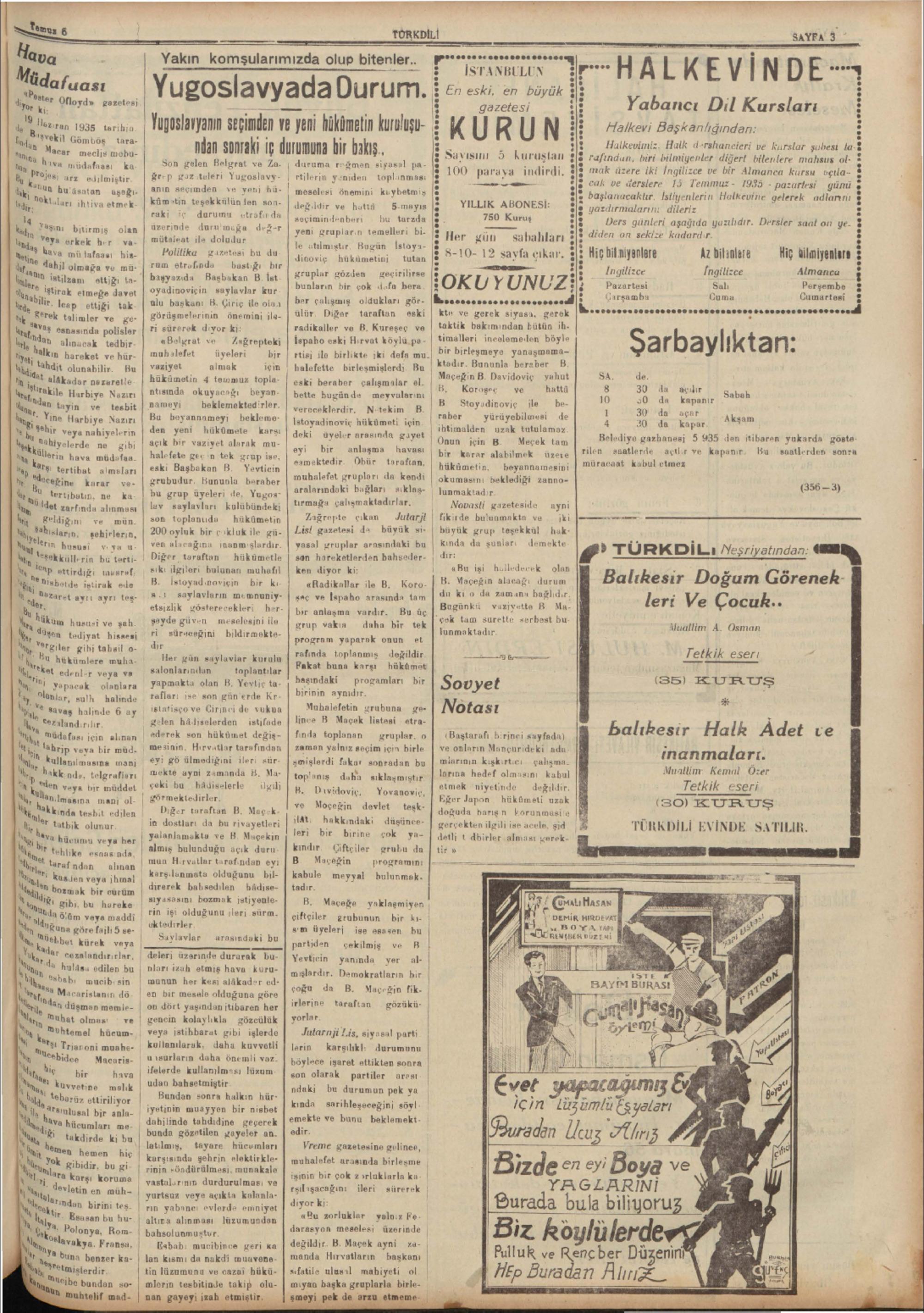 6 Temmuz 1935 Tarihli Türk Dili Gazetesi Sayfa 3