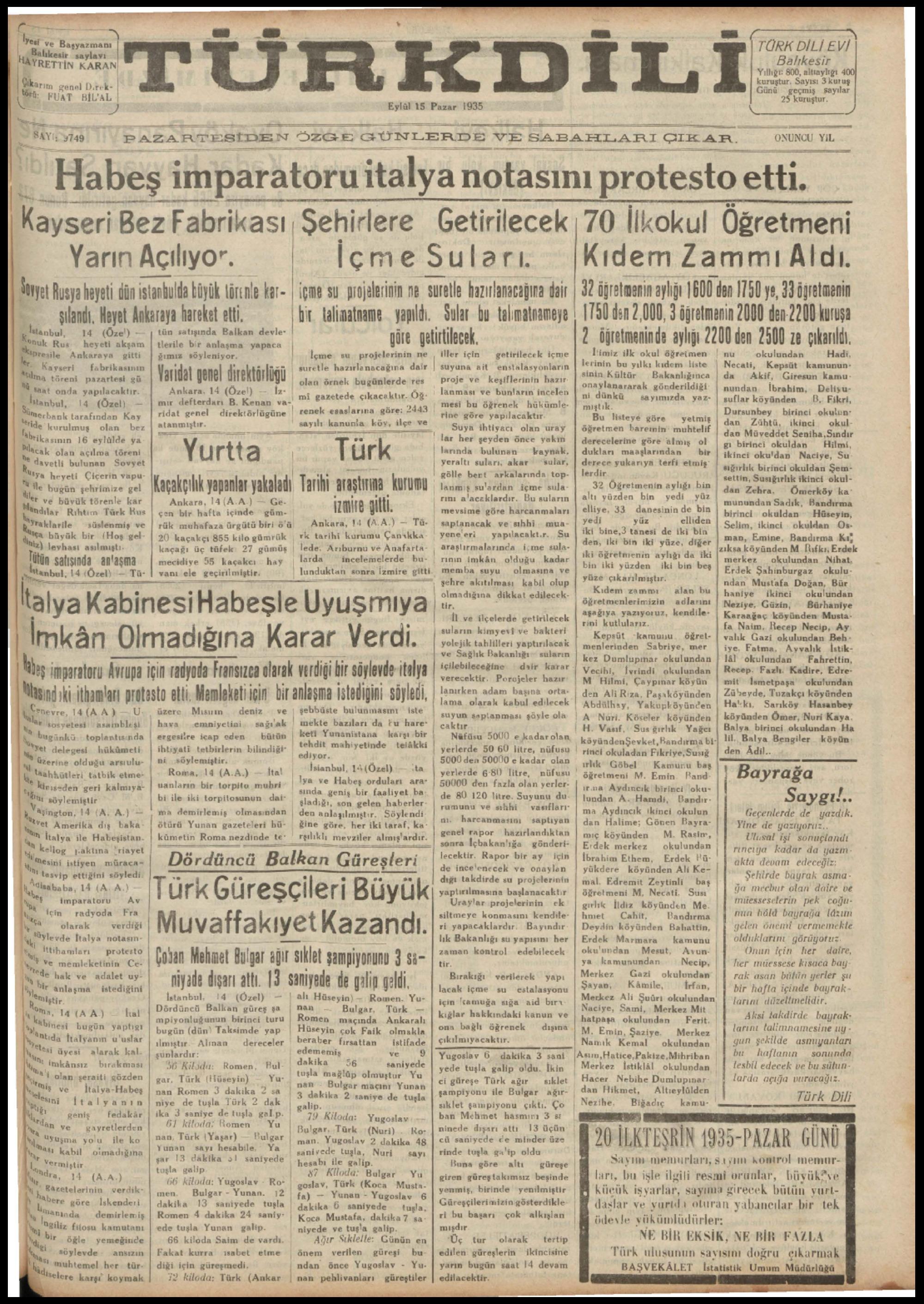 15 Eylül 1935 Tarihli Türk Dili Dergisi Sayfa 1