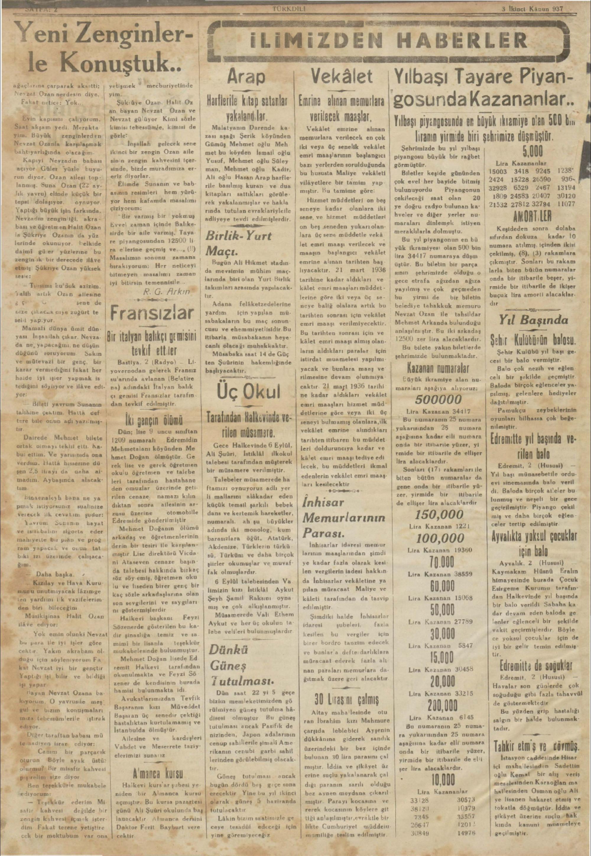 3 Ocak 1937 Tarihli Türk Dili Dergisi Sayfa 2