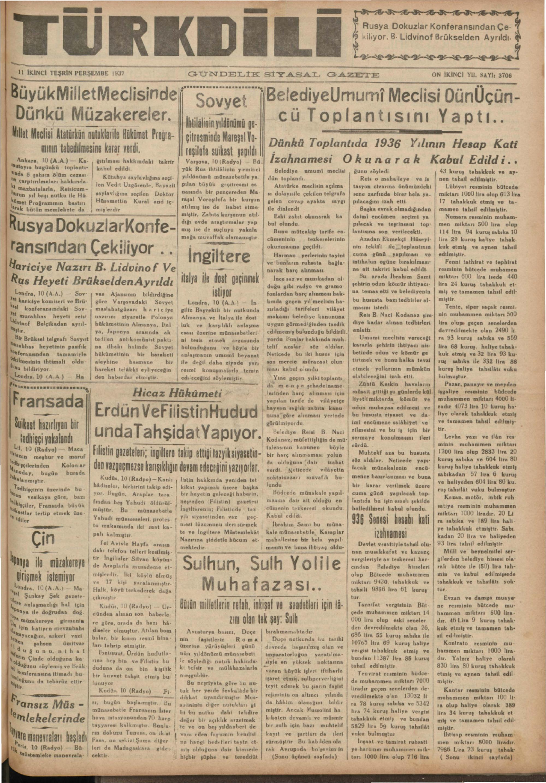 11 Kasım 1937 Tarihli Türk Dili Gazetesi Sayfa 1