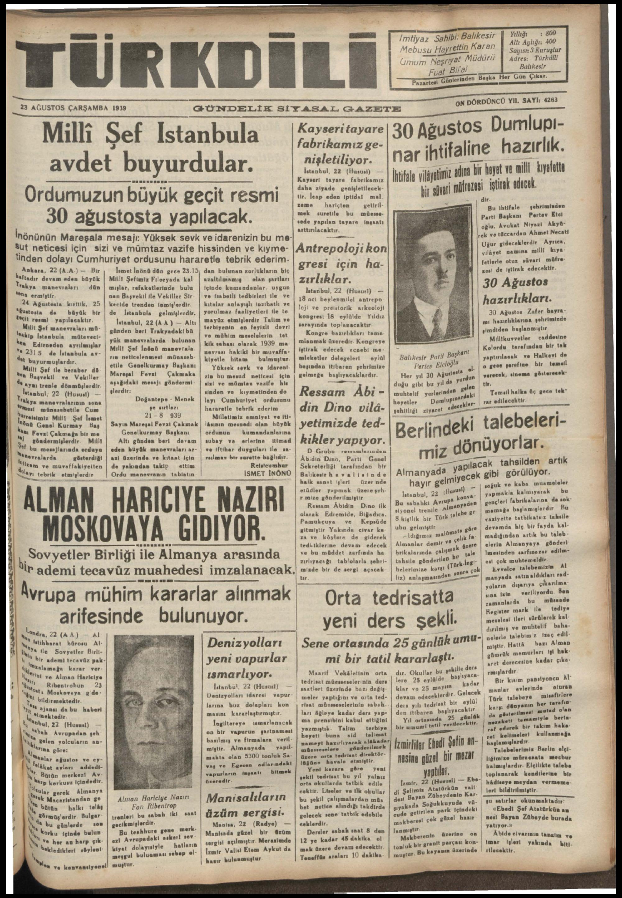 x_——_—__—__—__——_——m 23 AĞUSTOS ÇARŞAMBA 1939 GÜNDELI%_M_—MıiE_E__#'&TEO_BLİI__ ella Kayseritayare USİOS umlupl- Milli Şef Istanbula — £ ğxsritayare âgrAi%tifaiine Hdic nişletiliyor. - |! ör Bi — Da A T Ş güinizala l ha v ai nt avdet buyurdular.