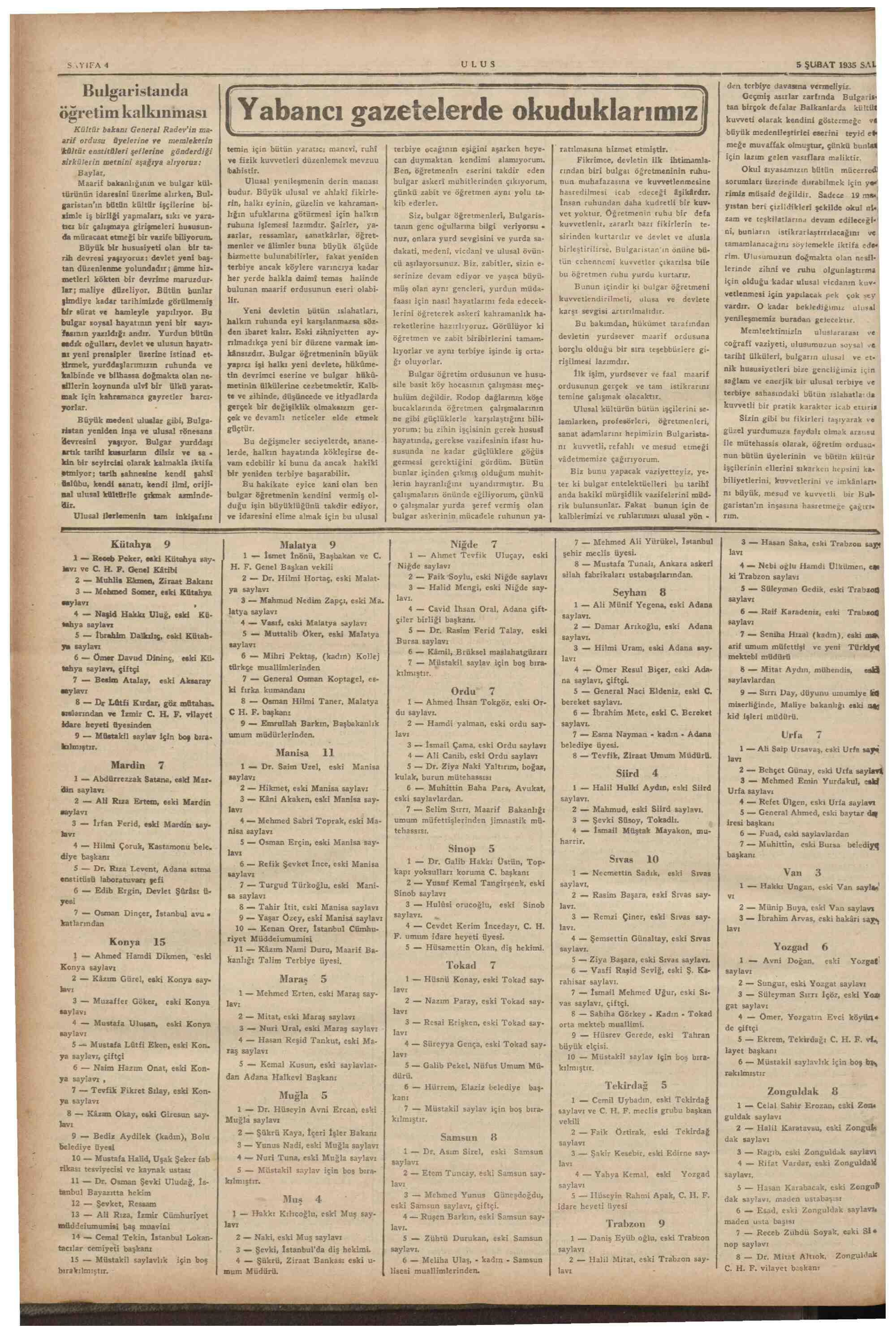 5 Şubat 1935 Tarihli Ulus Dergisi Sayfa 4