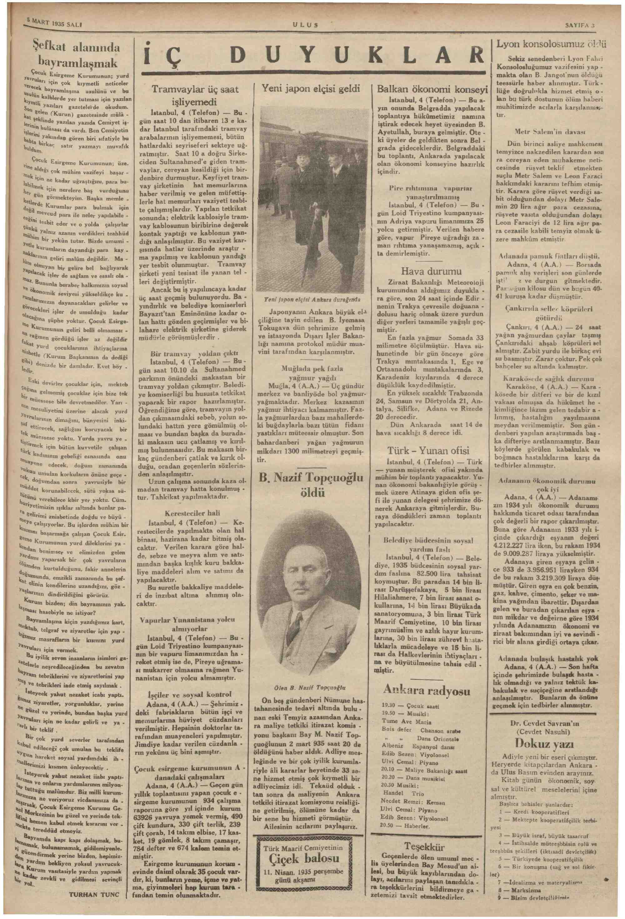 5 Mart 1935 Tarihli Ulus Gazetesi Sayfa 3