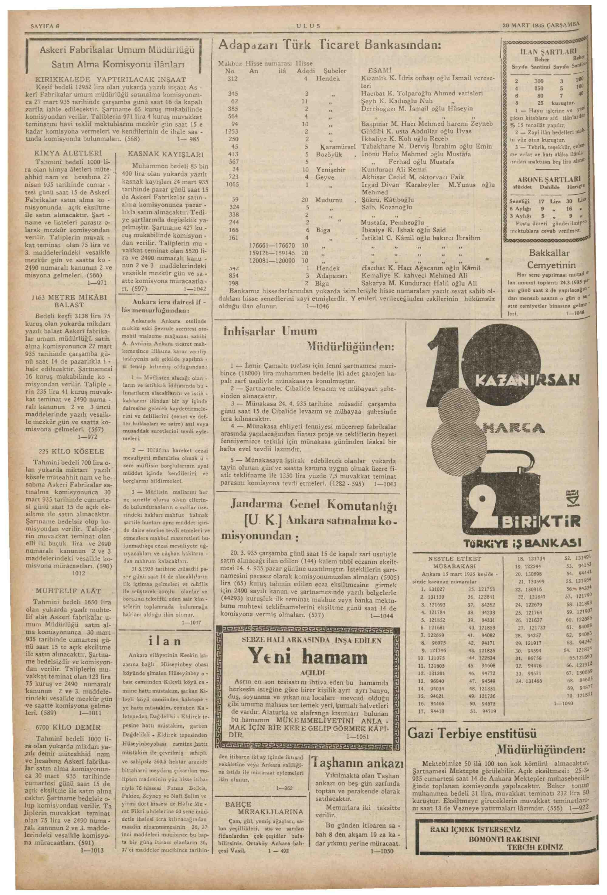 20 Mart 1935 Tarihli Ulus Gazetesi Sayfa 6