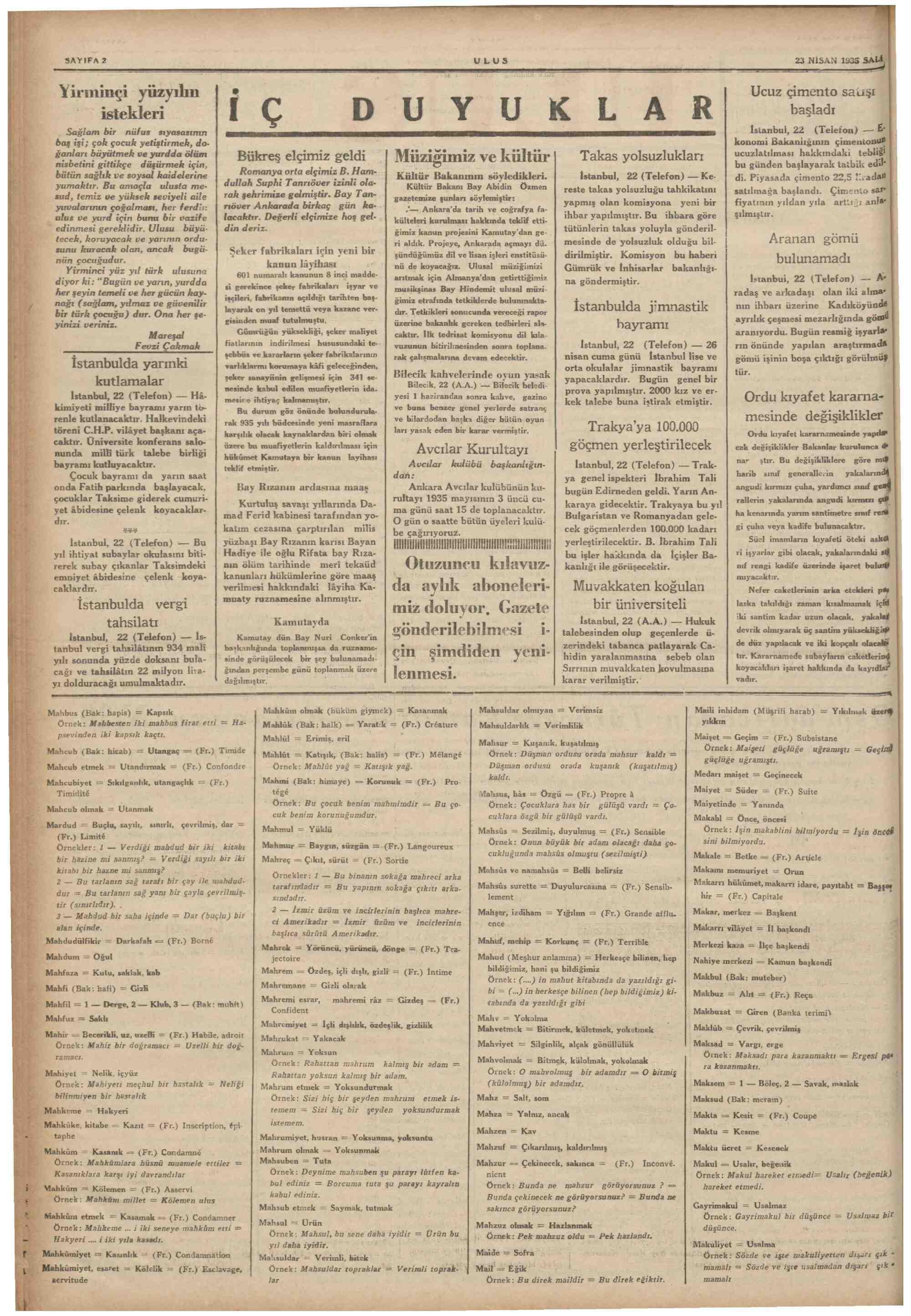 23 Nisan 1935 tarihli Ulus Gazetesi Sayfa 2