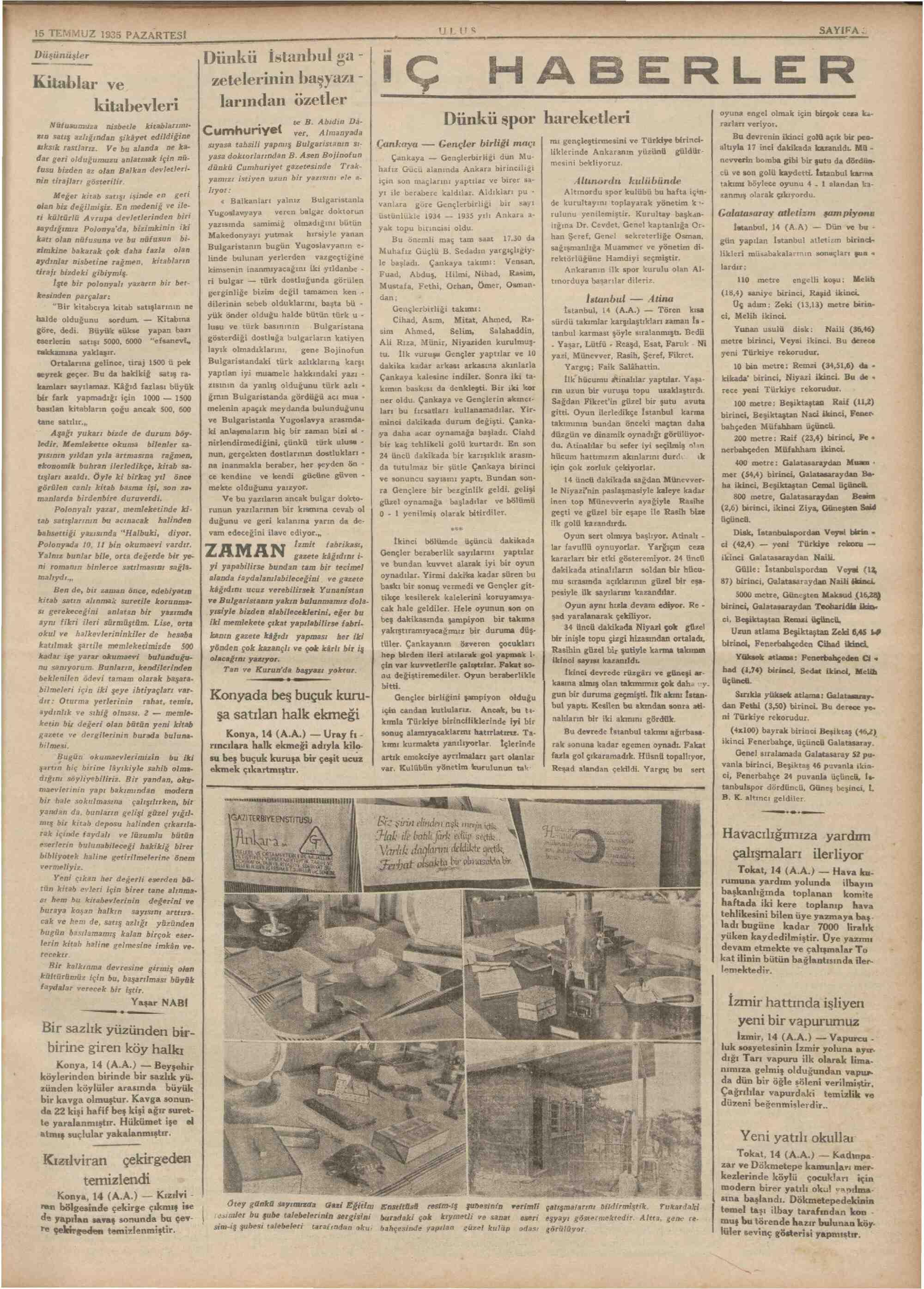 15 Temmuz 1935 Tarihli Ulus Gazetesi Sayfa 3