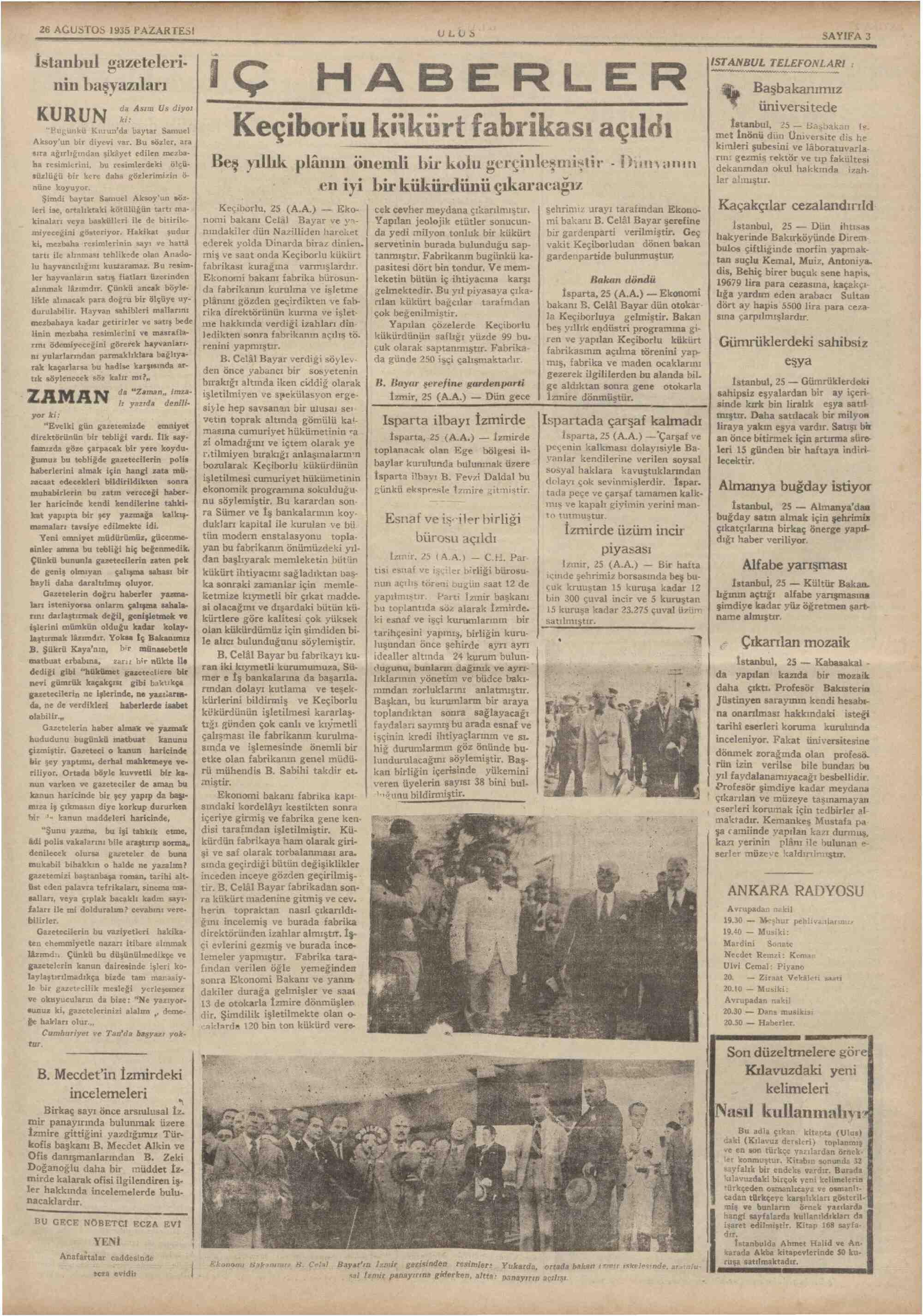 26 Ağustos 1935 Tarihli Ulus Gazetesi Sayfa 3