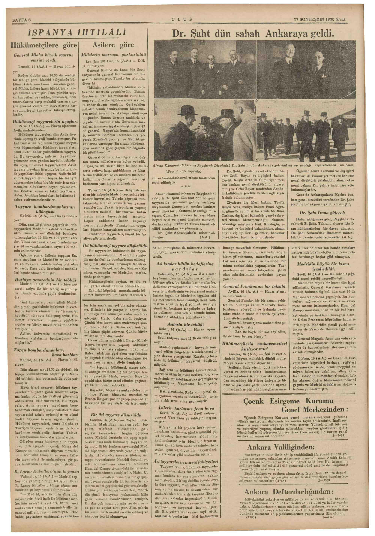 17 Kasım 1936 Tarihli Ulus Dergisi Sayfa 6