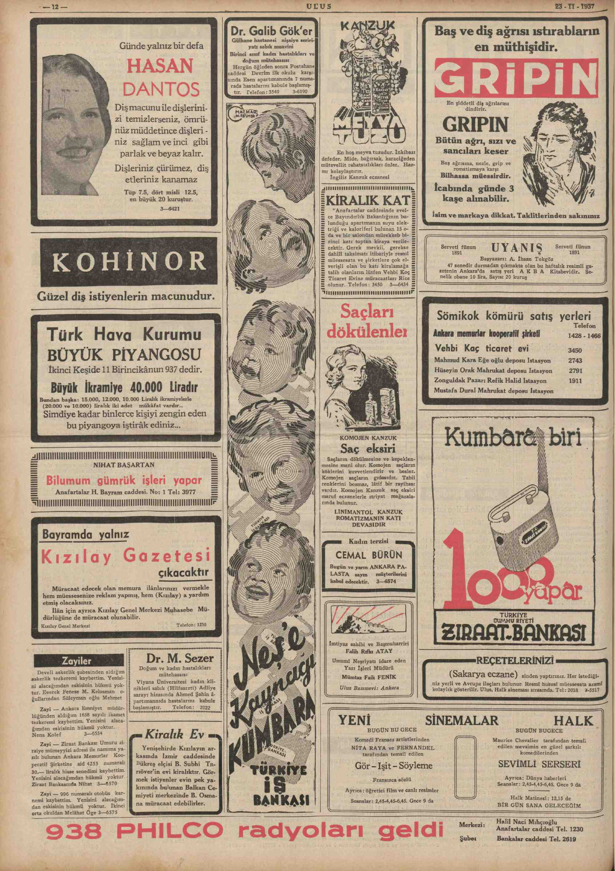 23 Kasım 1937 Tarihli Ulus Dergisi Sayfa 12