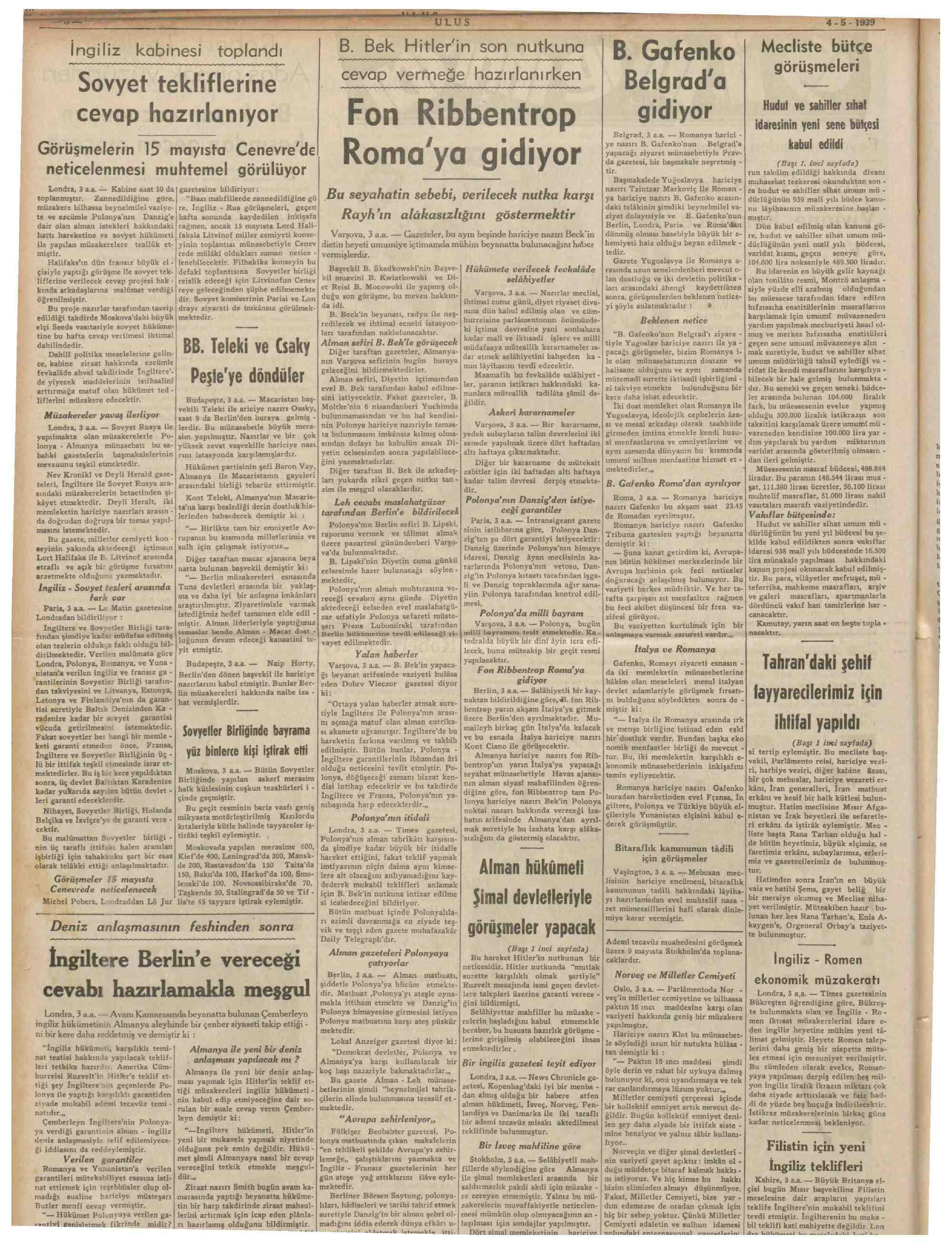 4 Mayıs 1939 Tarihli Ulus Gazetesi Sayfa 8
