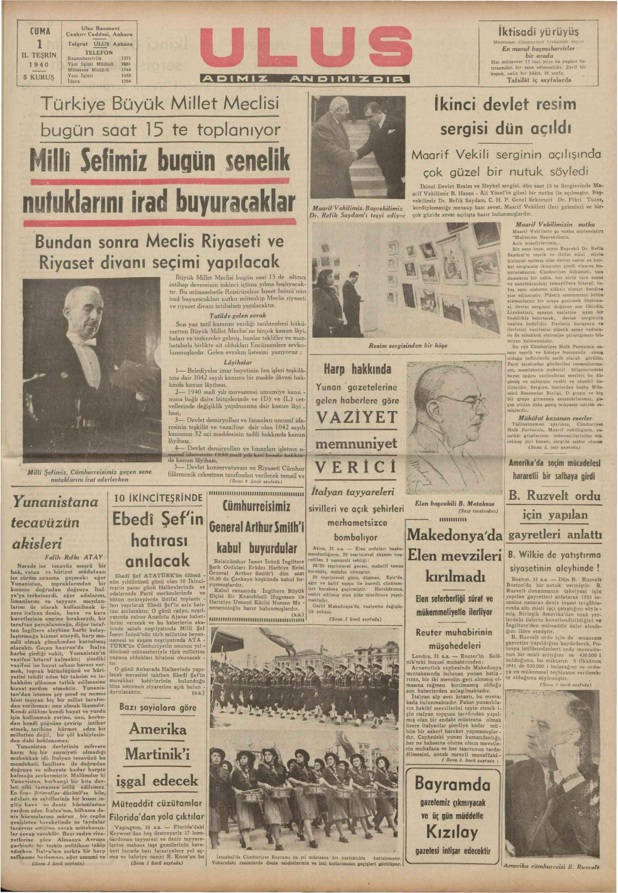 1 Kasım 1940 tarihli Ulus Gazetesi Sayfa 1