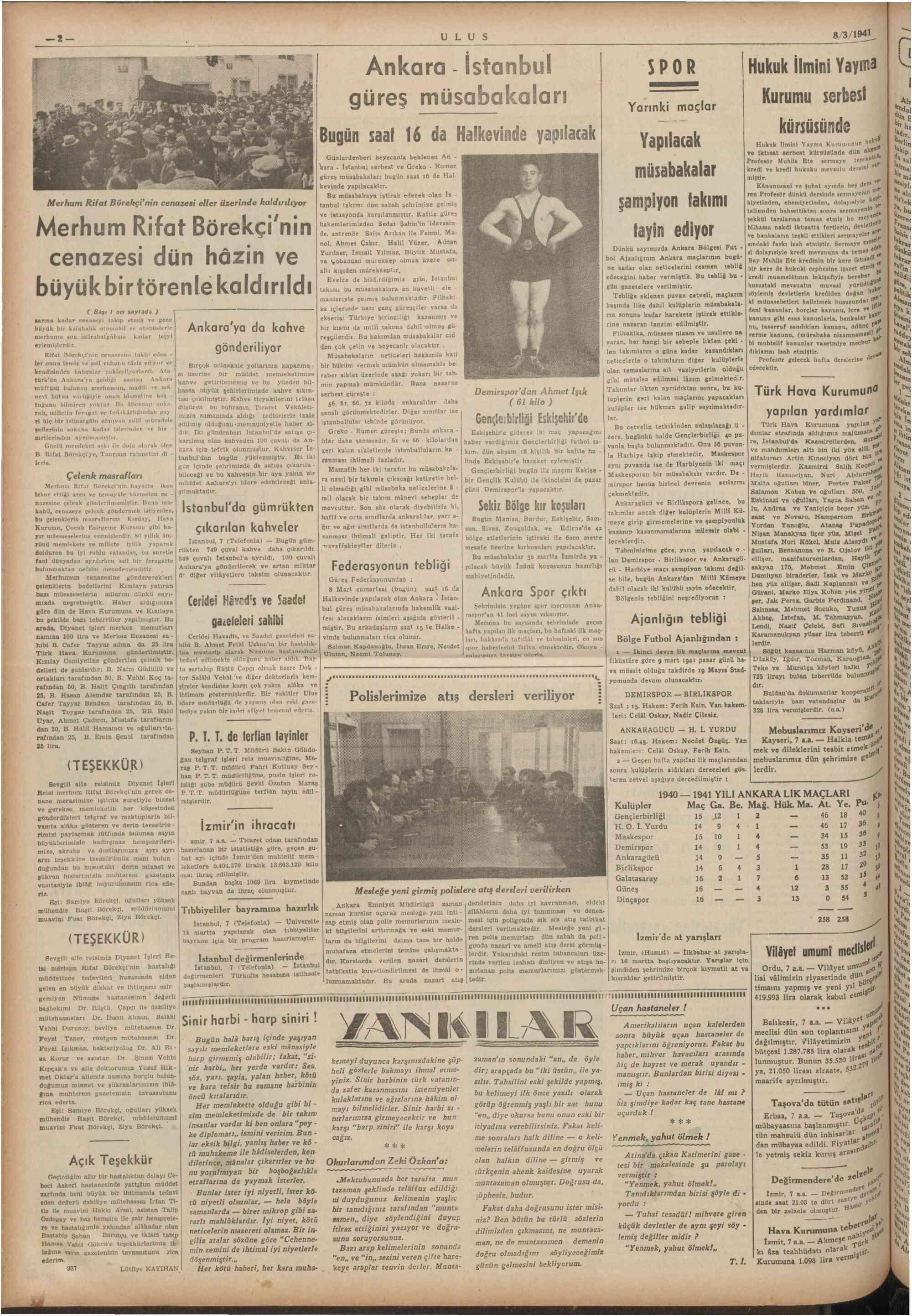 8 Mart 1941 Tarihli Ulus Gazetesi Sayfa 2
