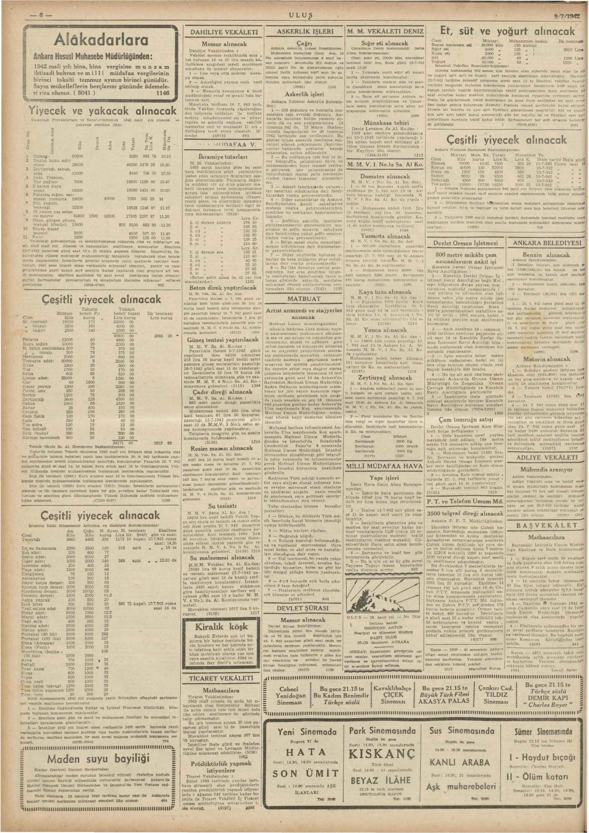 9 Temmuz 1942 Tarihli Ulus Gazetesi Sayfa 6