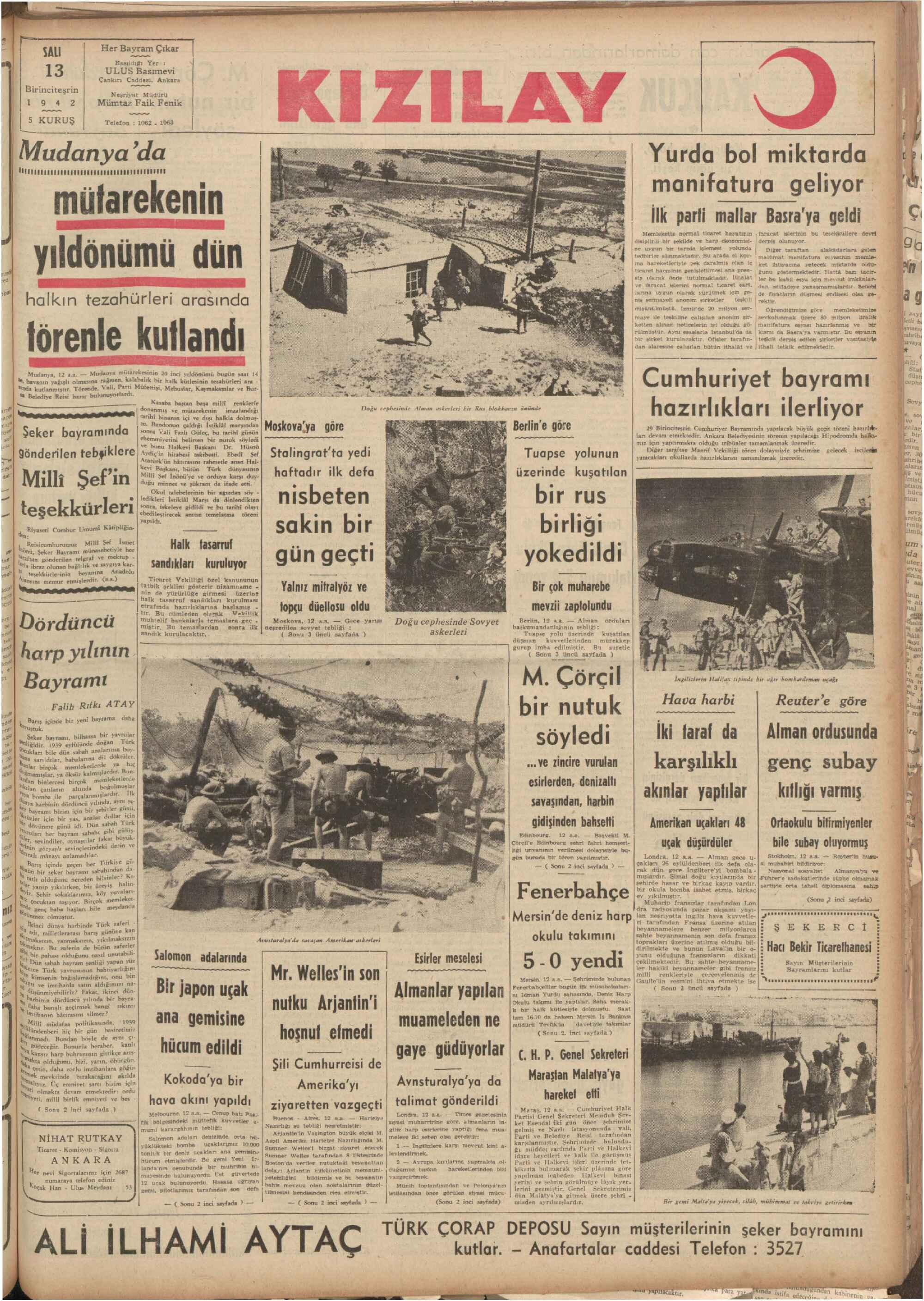 13 Ekim 1942 tarihli Ulus Gazetesi Sayfa 1