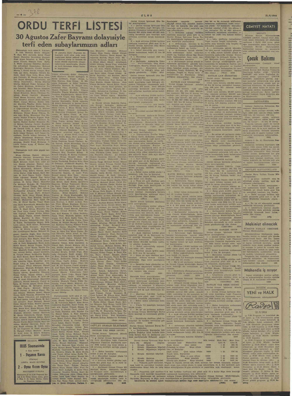 August 31, 1944 Tarihli Ulus Gazetesi Sayfa 4