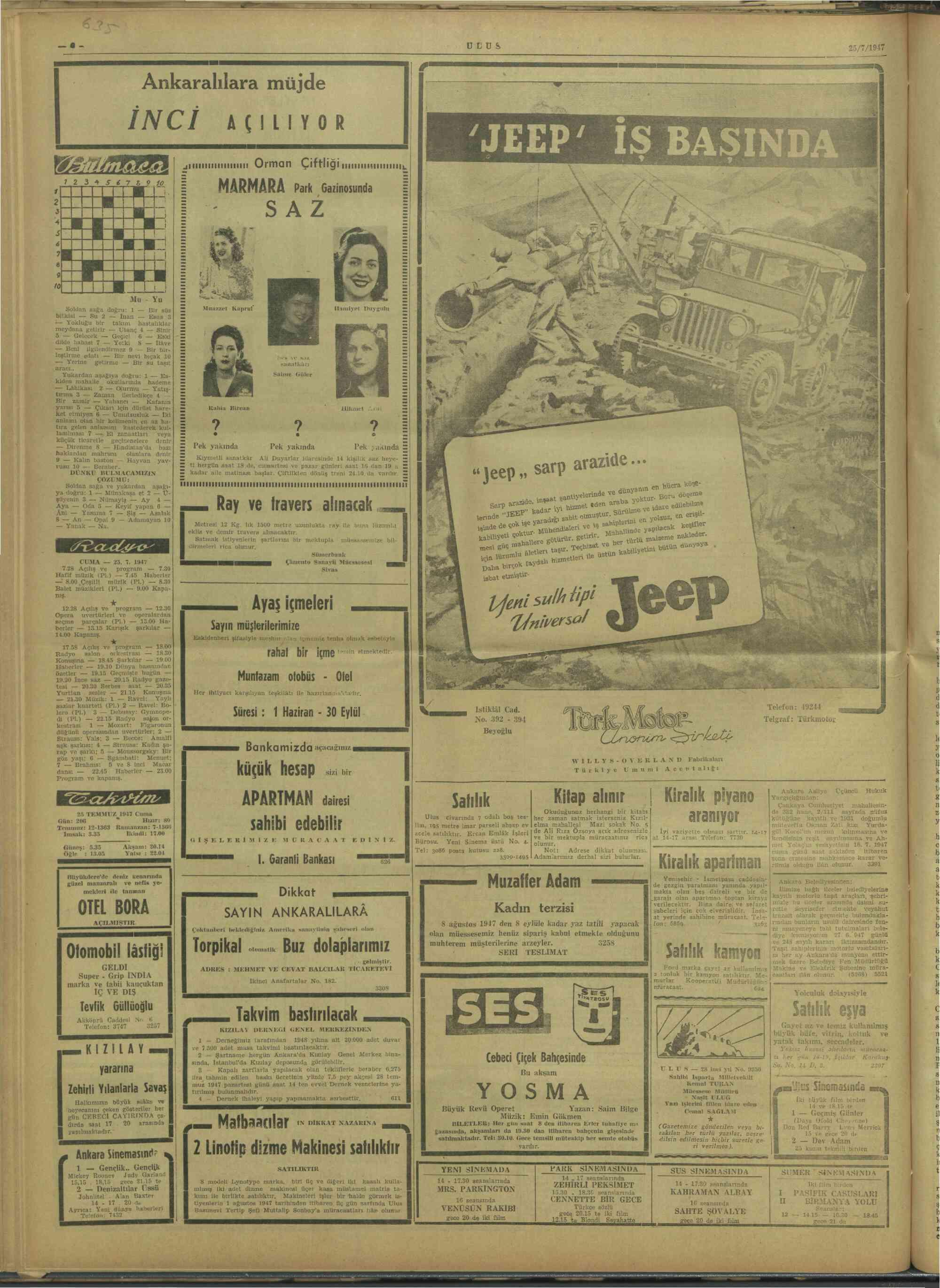 July 25, 1947 Tarihli Ulus Gazetesi Sayfa 6
