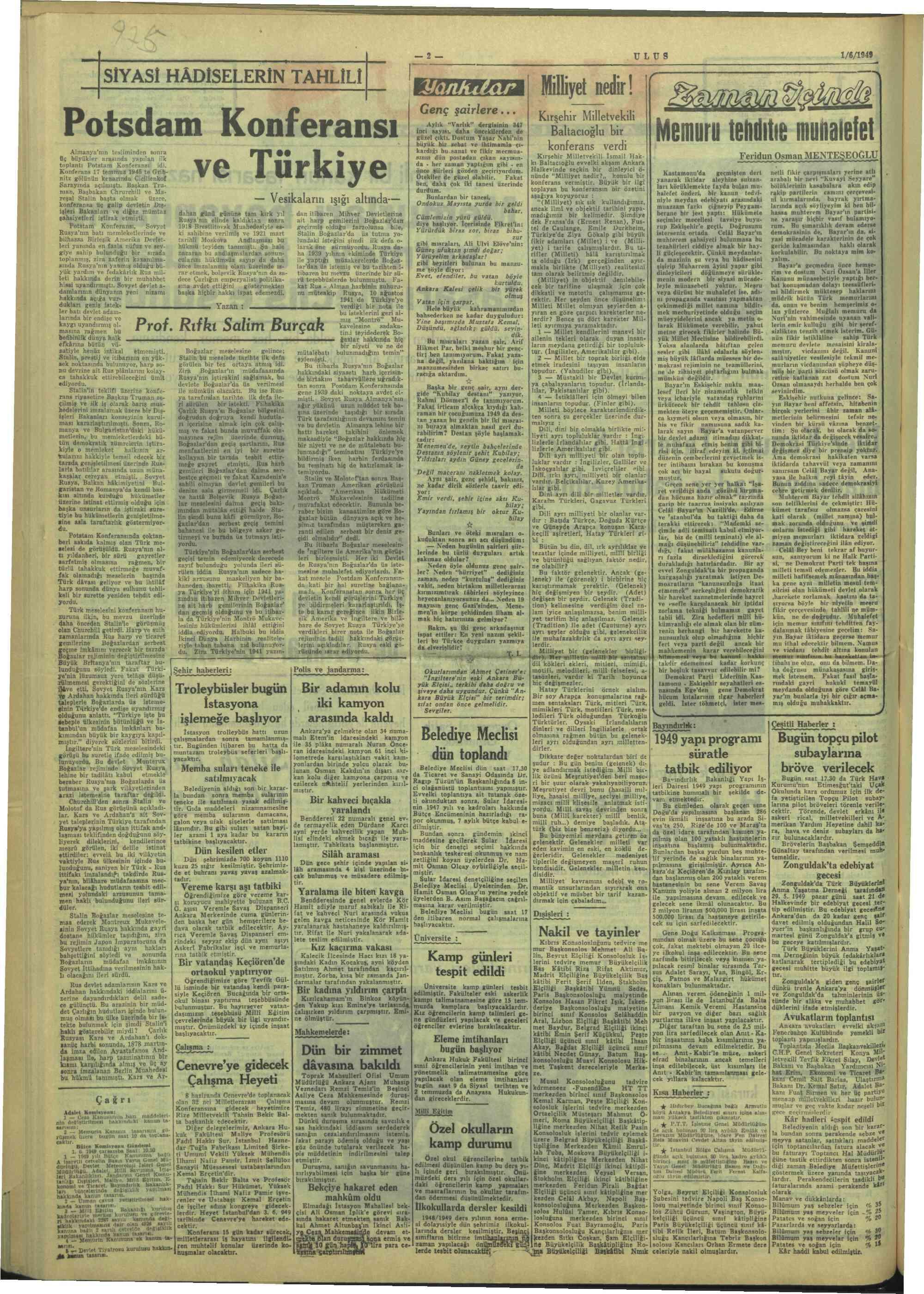 1 Haziran 1949 Tarihli Ulus Dergisi Sayfa 2