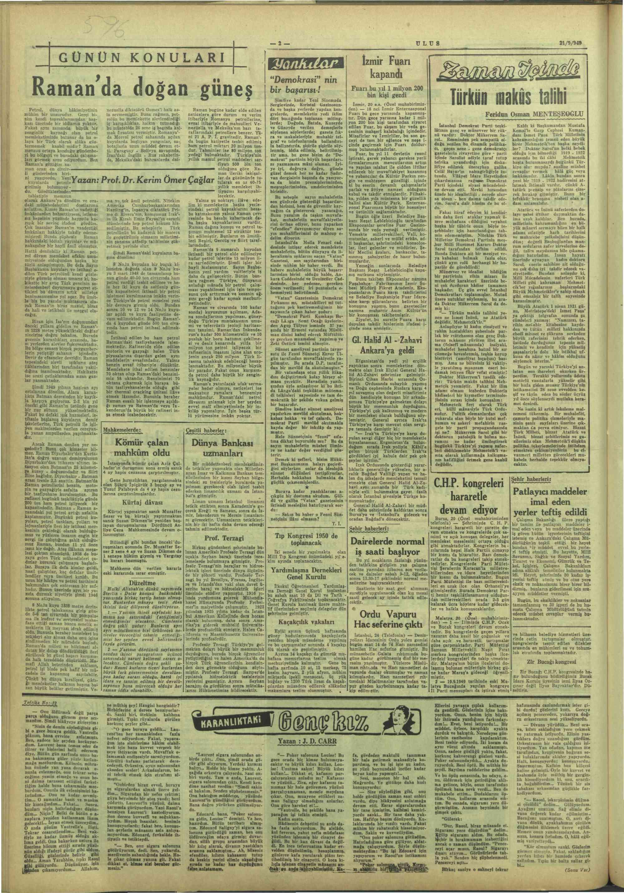 21 Eylül 1949 Tarihli Ulus Gazetesi Sayfa 2