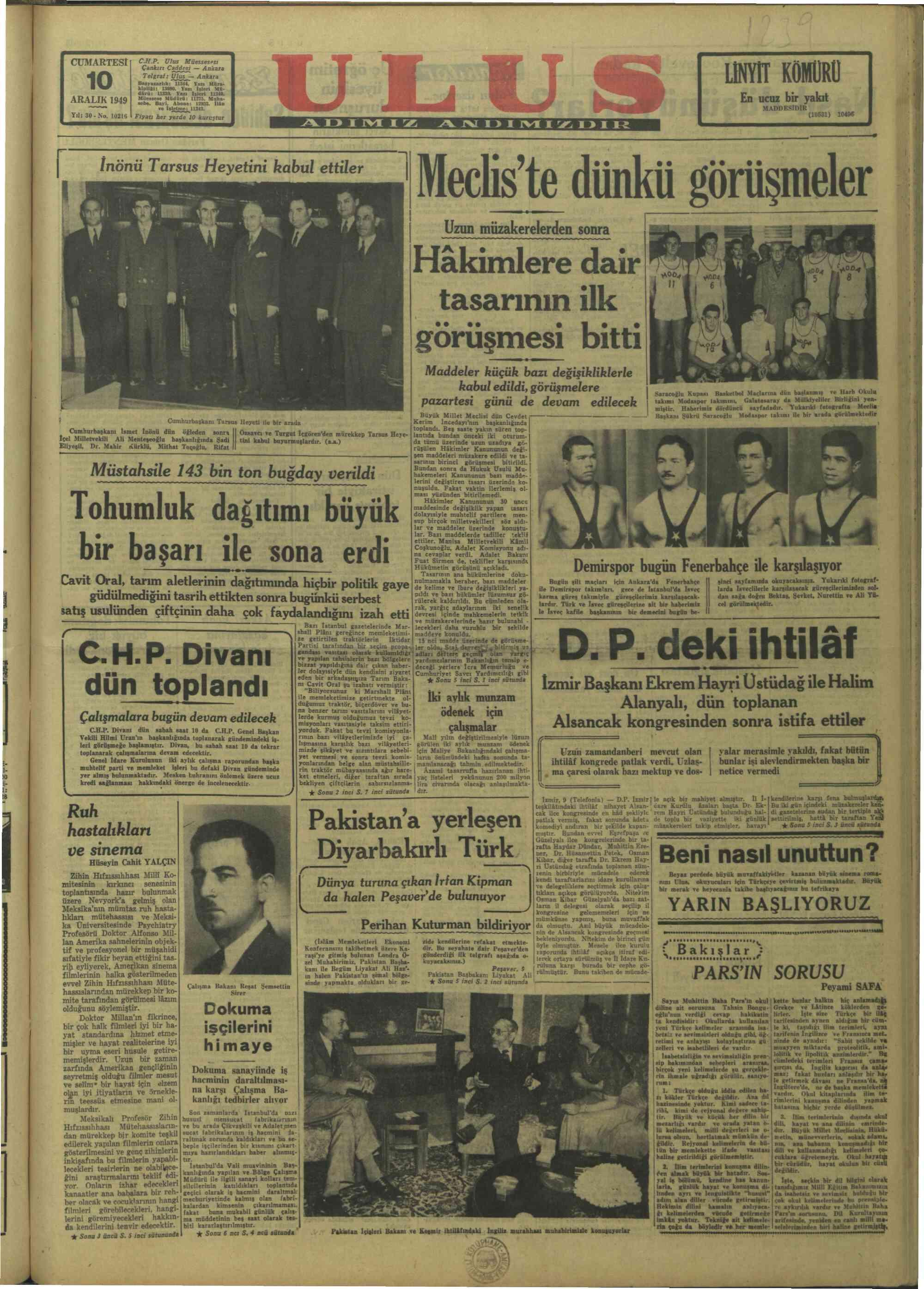 December 10, 1949 Tarihli Ulus Gazetesi Sayfa 1