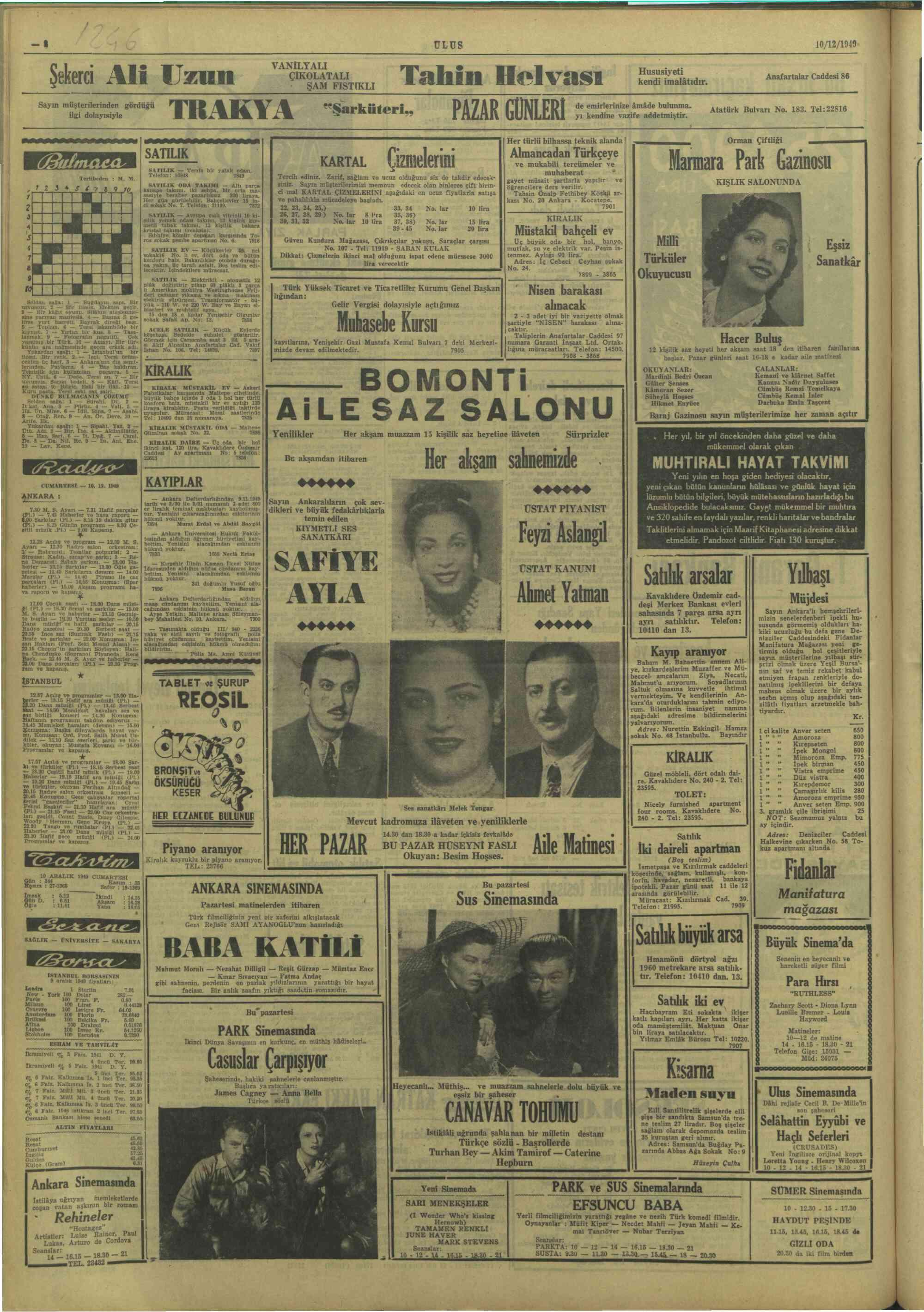 11 Aralık 1949 Tarihli Ulus Gazetesi Sayfa 1