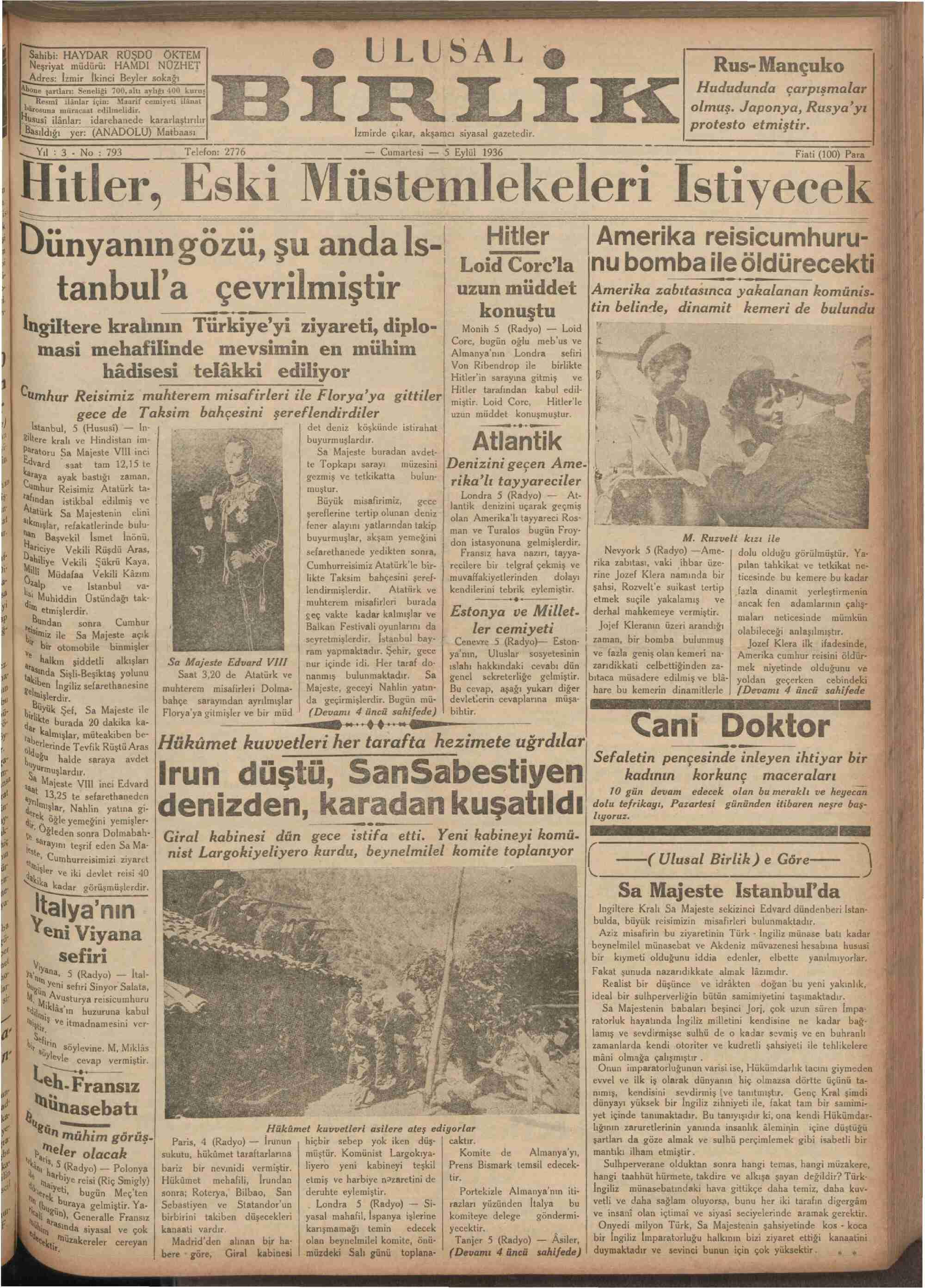 5 Eylül 1936 Tarihli Ulusal Birlik (İzmir) Gazetesi Sayfa 1