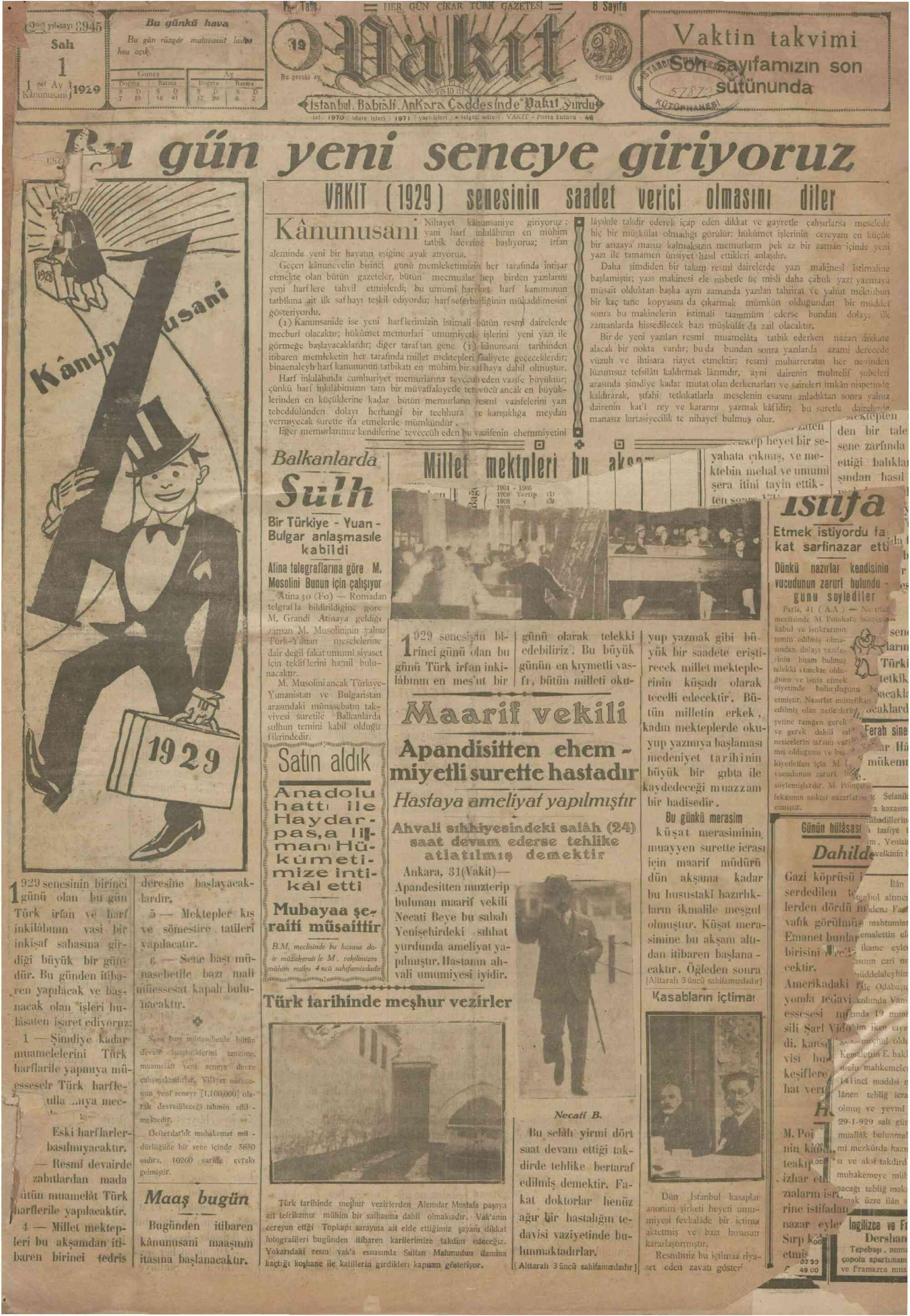 1 Ocak 1929 Tarihli Vakit Gazetesi Sayfa 1