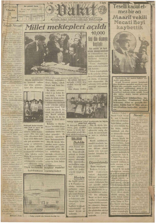 2 Ocak 1929 Tarihli Vakit Gazetesi Sayfa 1