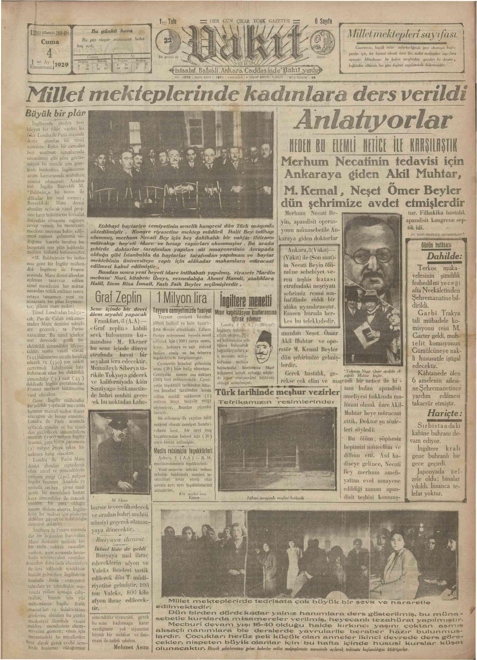 4 Ocak 1929 Tarihli Vakit Gazetesi Sayfa 1