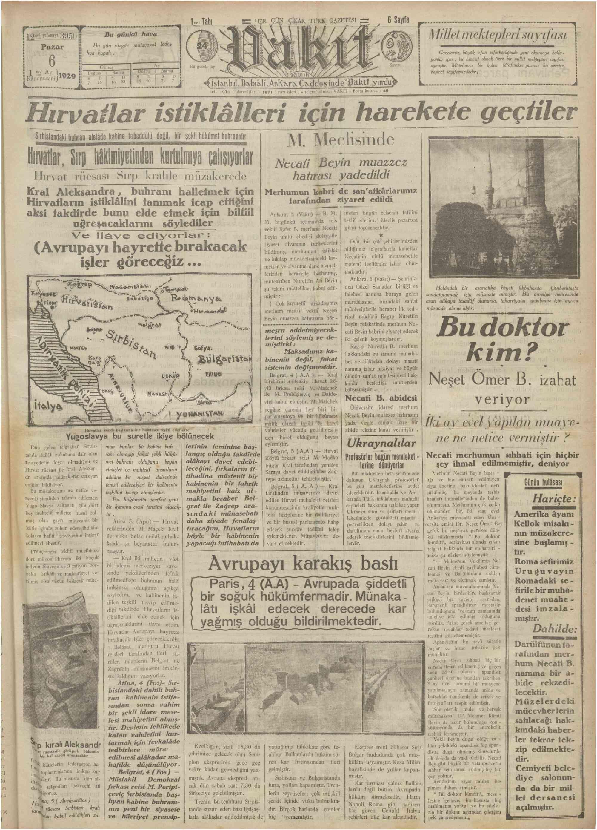 6 Ocak 1929 Tarihli Vakit Gazetesi Sayfa 1