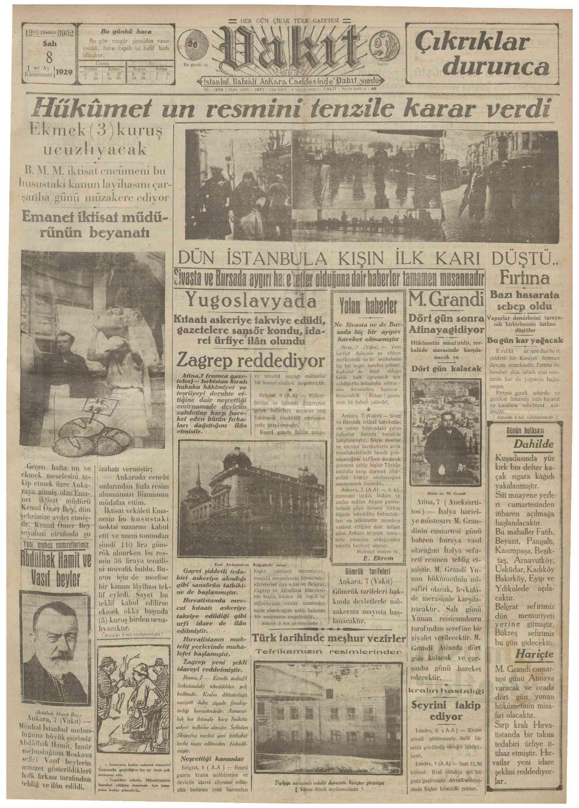 8 Ocak 1929 Tarihli Vakit Gazetesi Sayfa 1