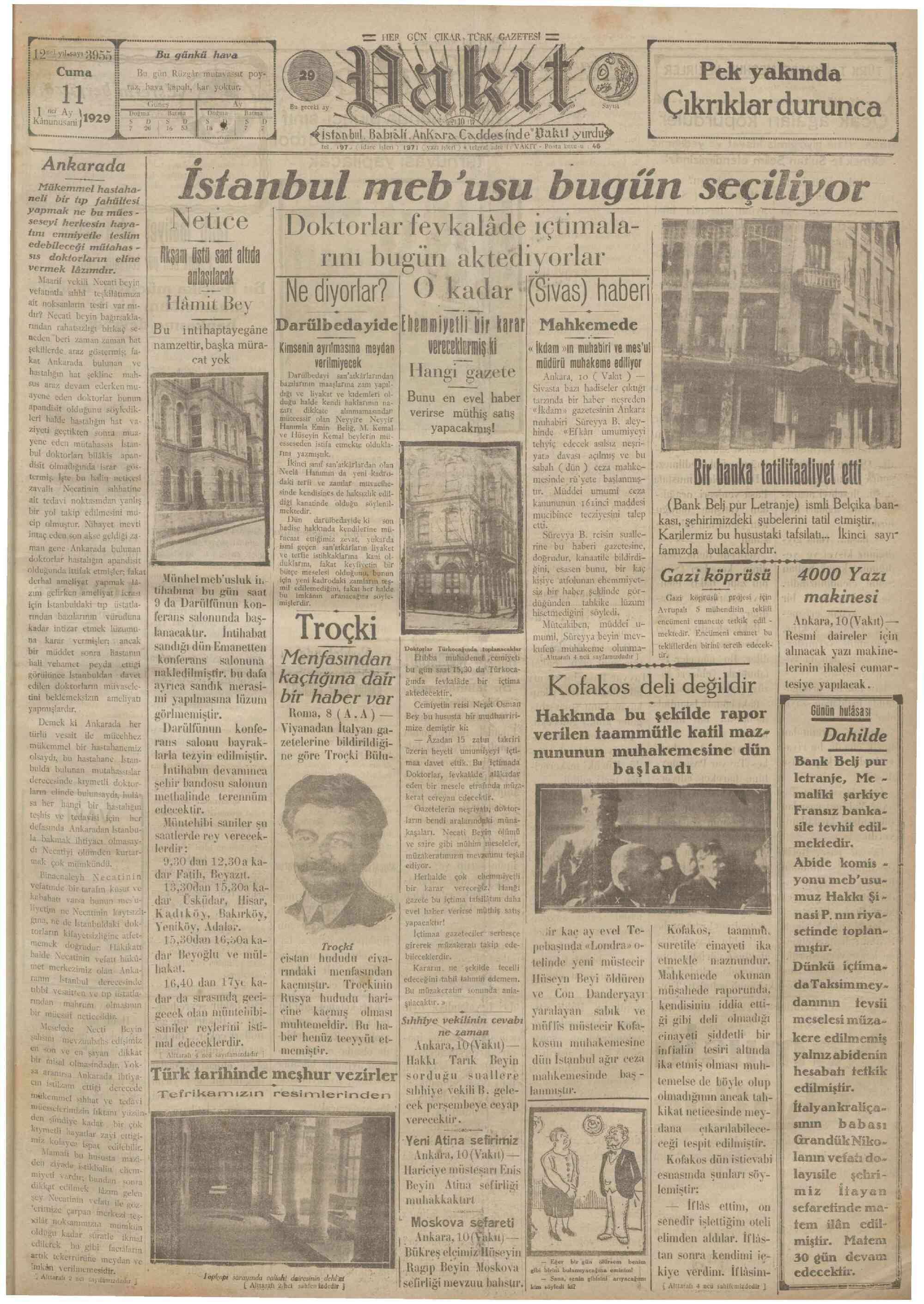 11 Ocak 1929 Tarihli Vakit Gazetesi Sayfa 1