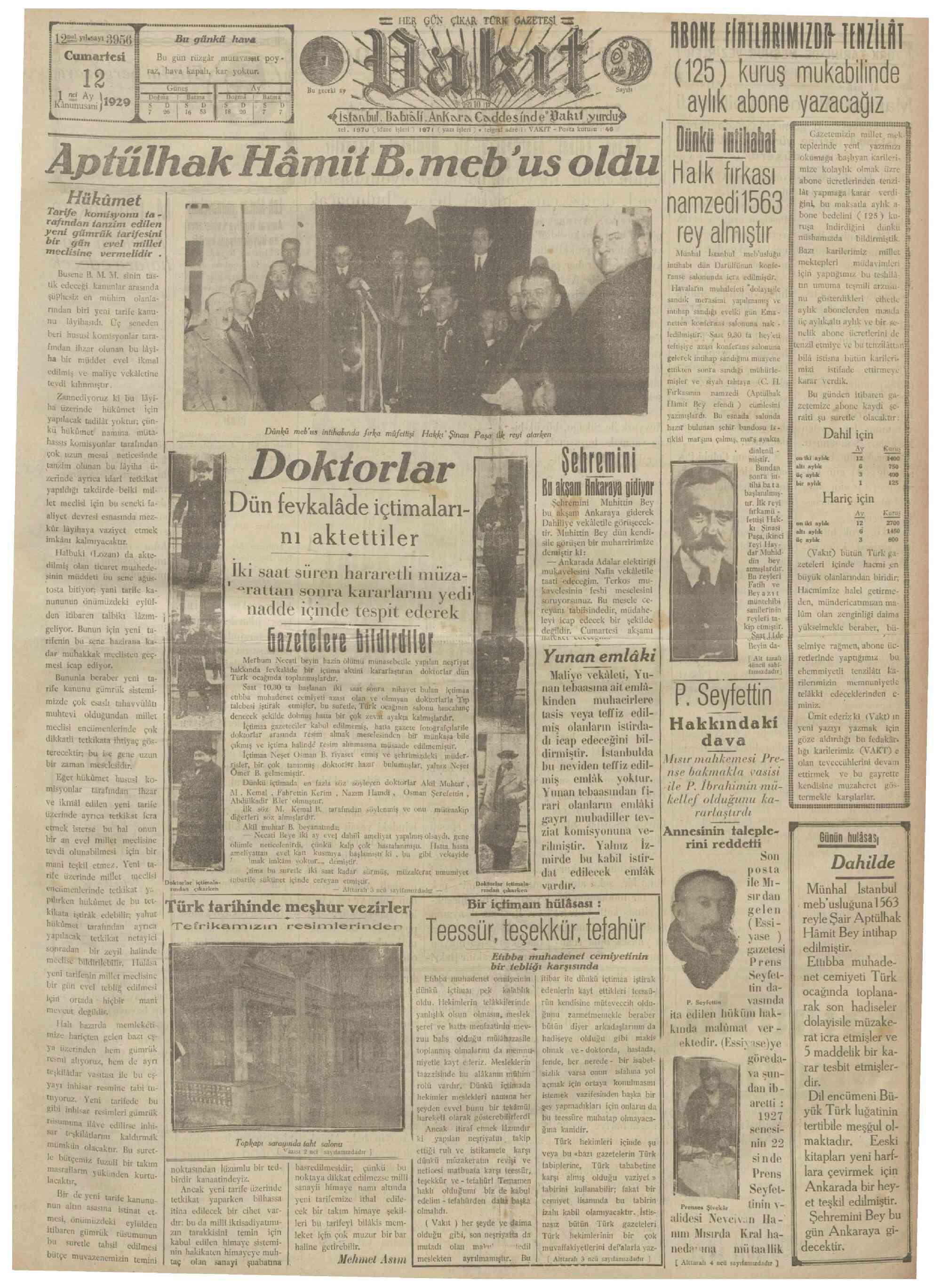 12 Ocak 1929 Tarihli Vakit Gazetesi Sayfa 1