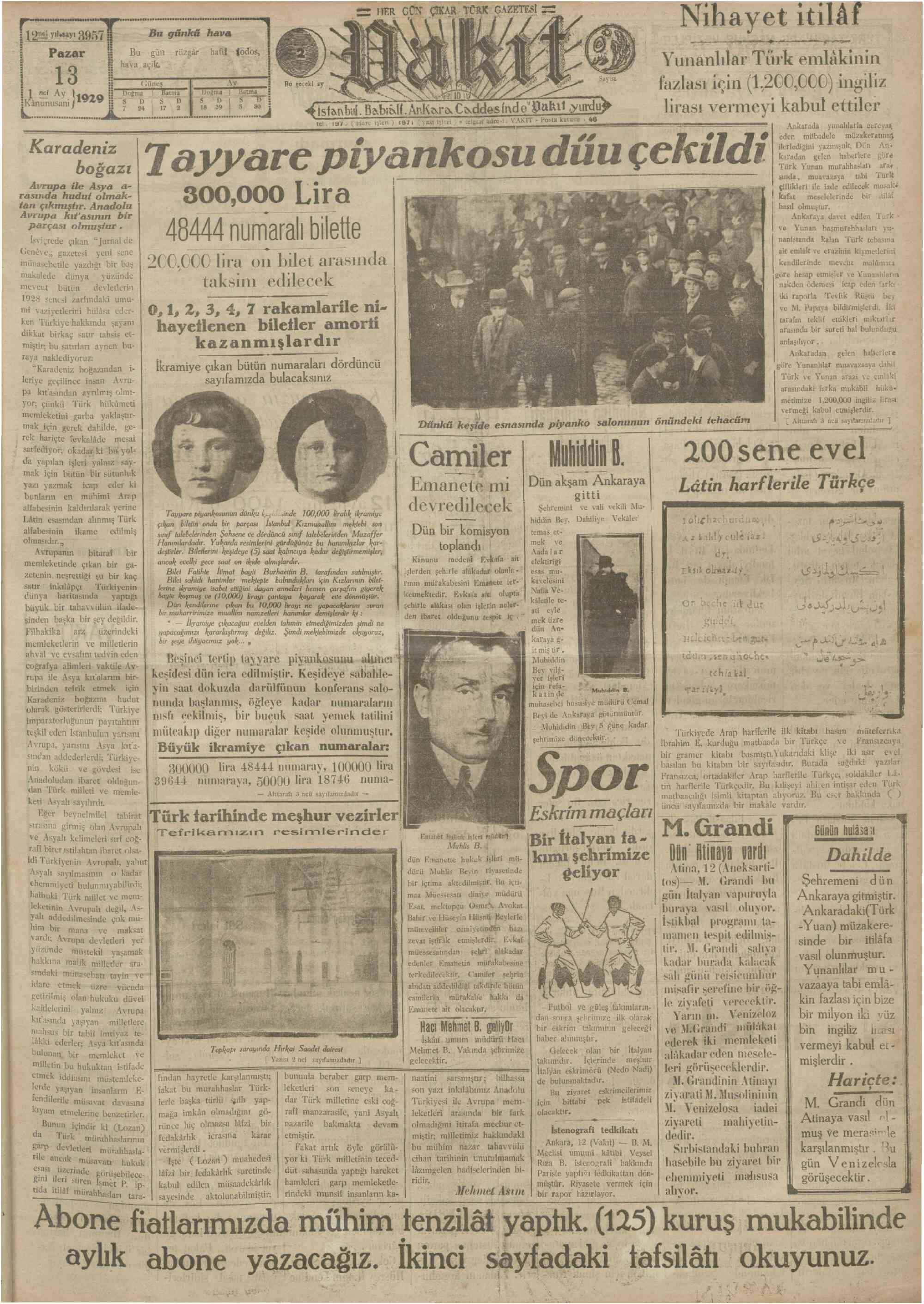 13 Ocak 1929 Tarihli Vakit Gazetesi Sayfa 1