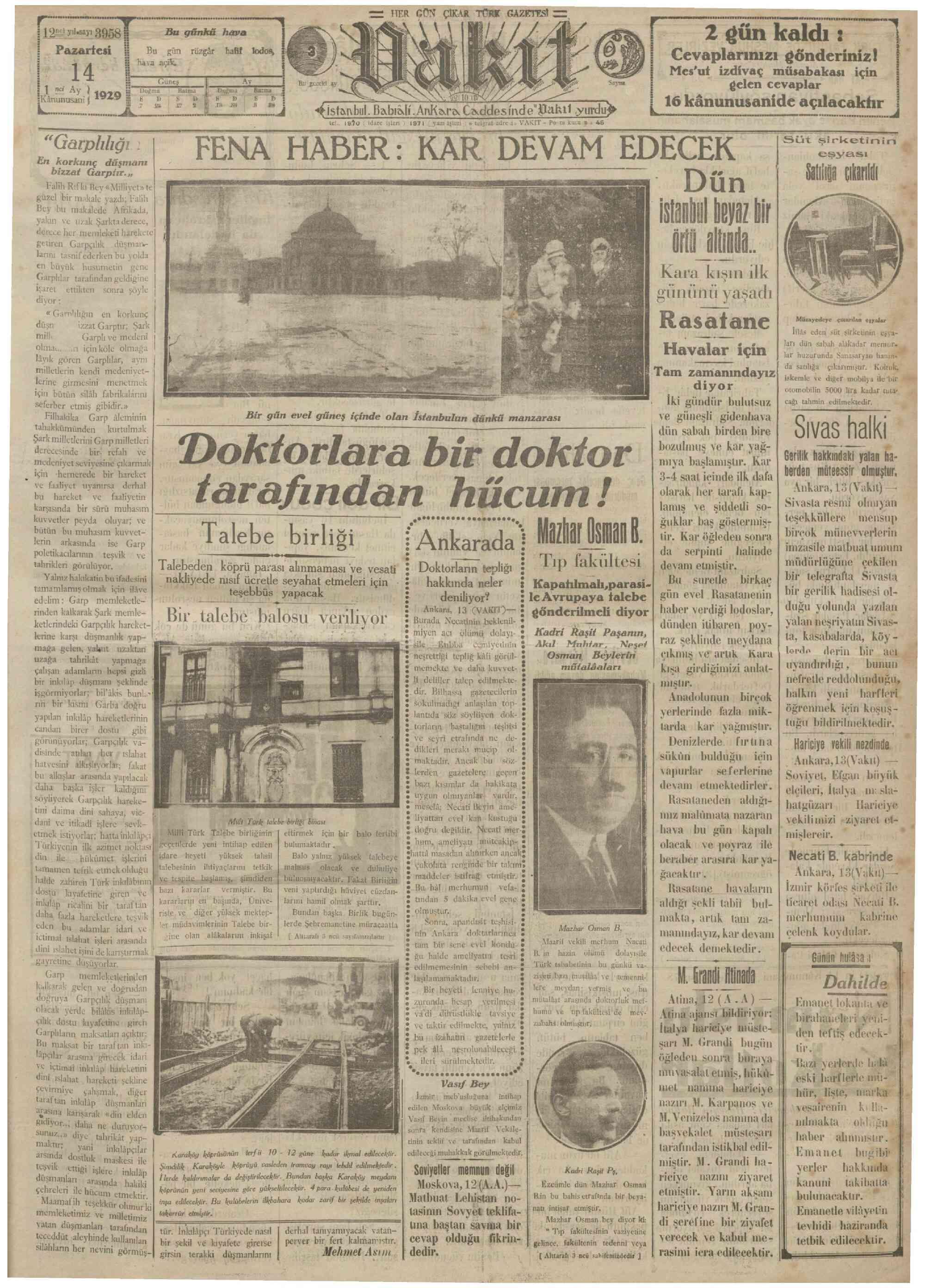 14 Ocak 1929 Tarihli Vakit Gazetesi Sayfa 1