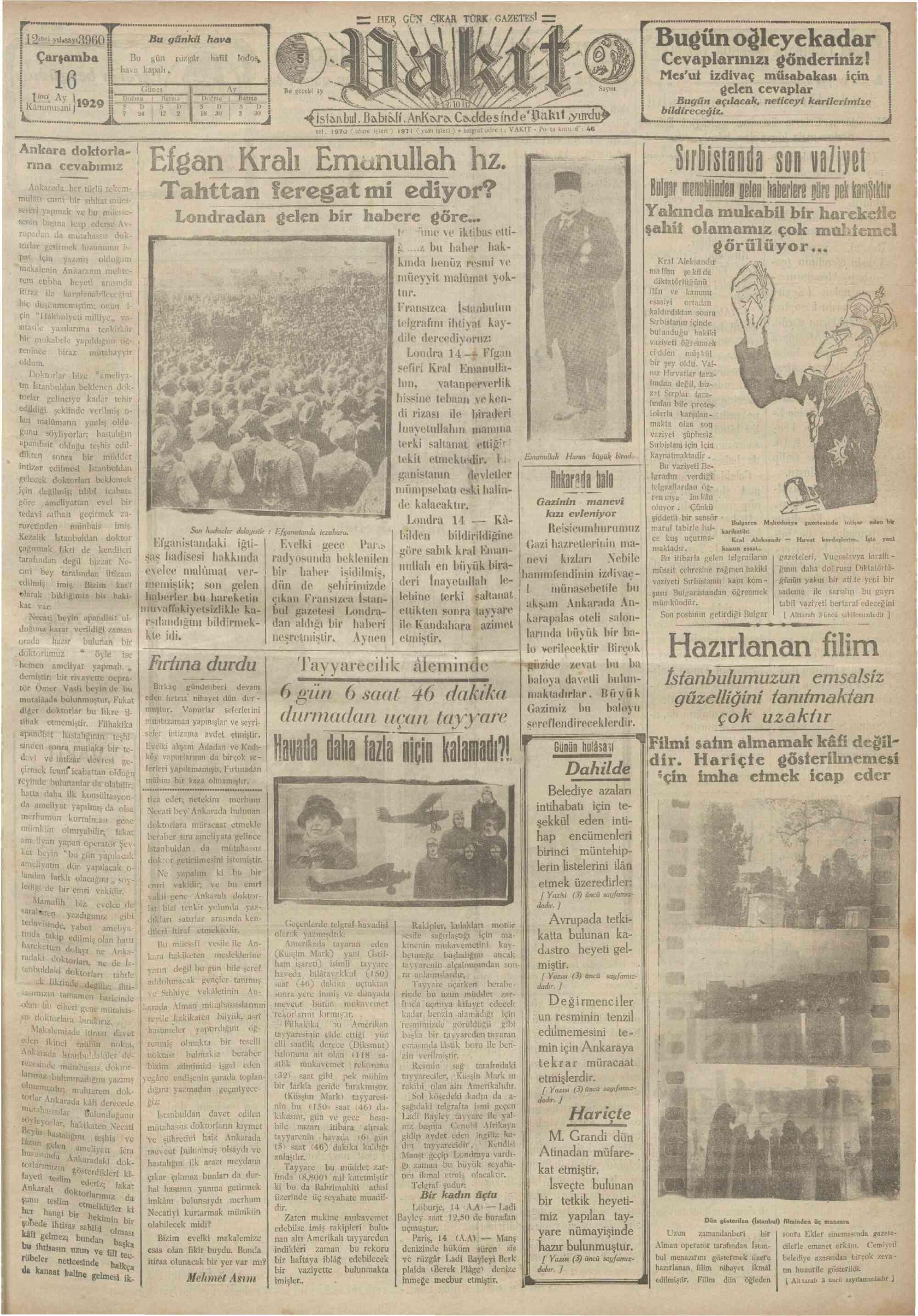 16 Ocak 1929 Tarihli Vakit Gazetesi Sayfa 1