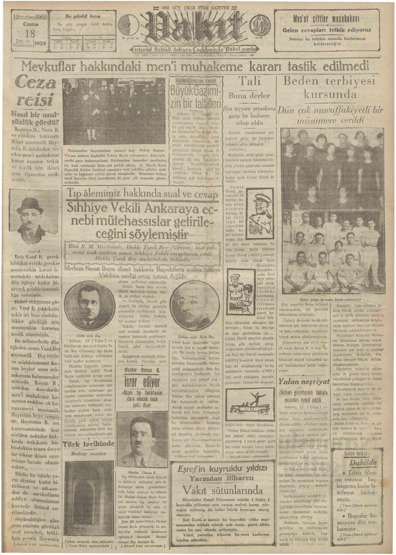 18 Ocak 1929 Tarihli Vakit Gazetesi Sayfa 1