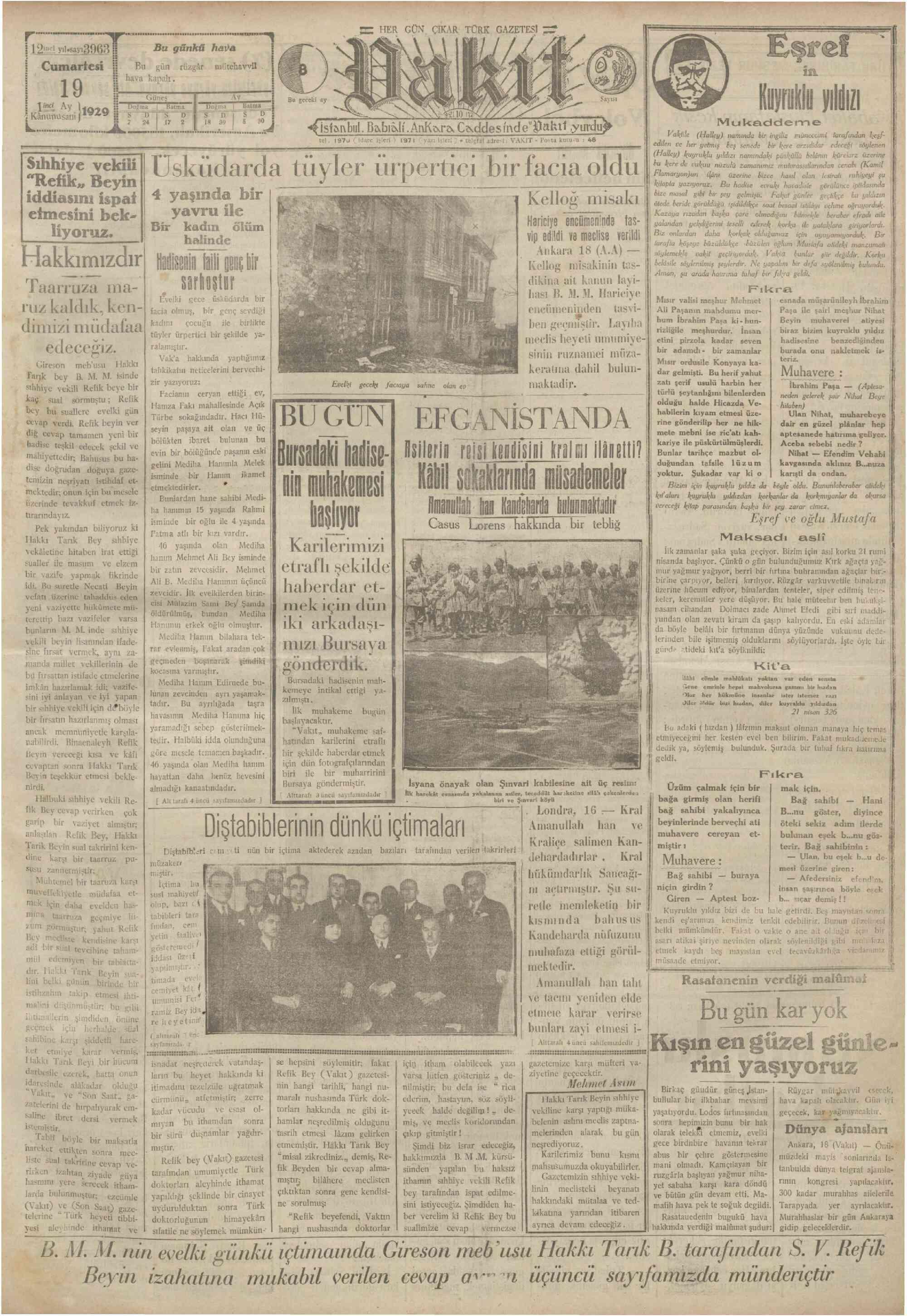 19 Ocak 1929 Tarihli Vakit Gazetesi Sayfa 1