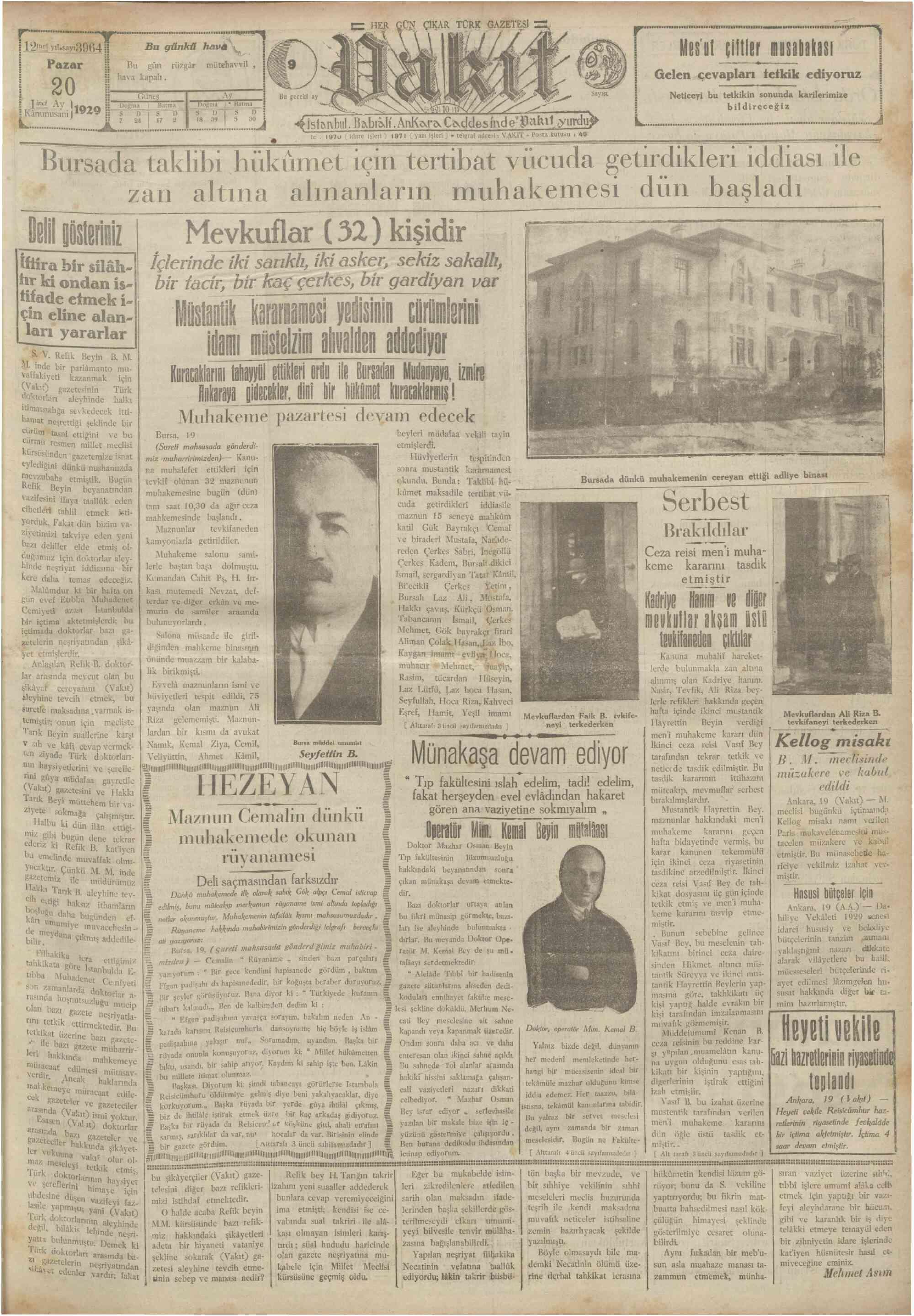 20 Ocak 1929 Tarihli Vakit Gazetesi Sayfa 1