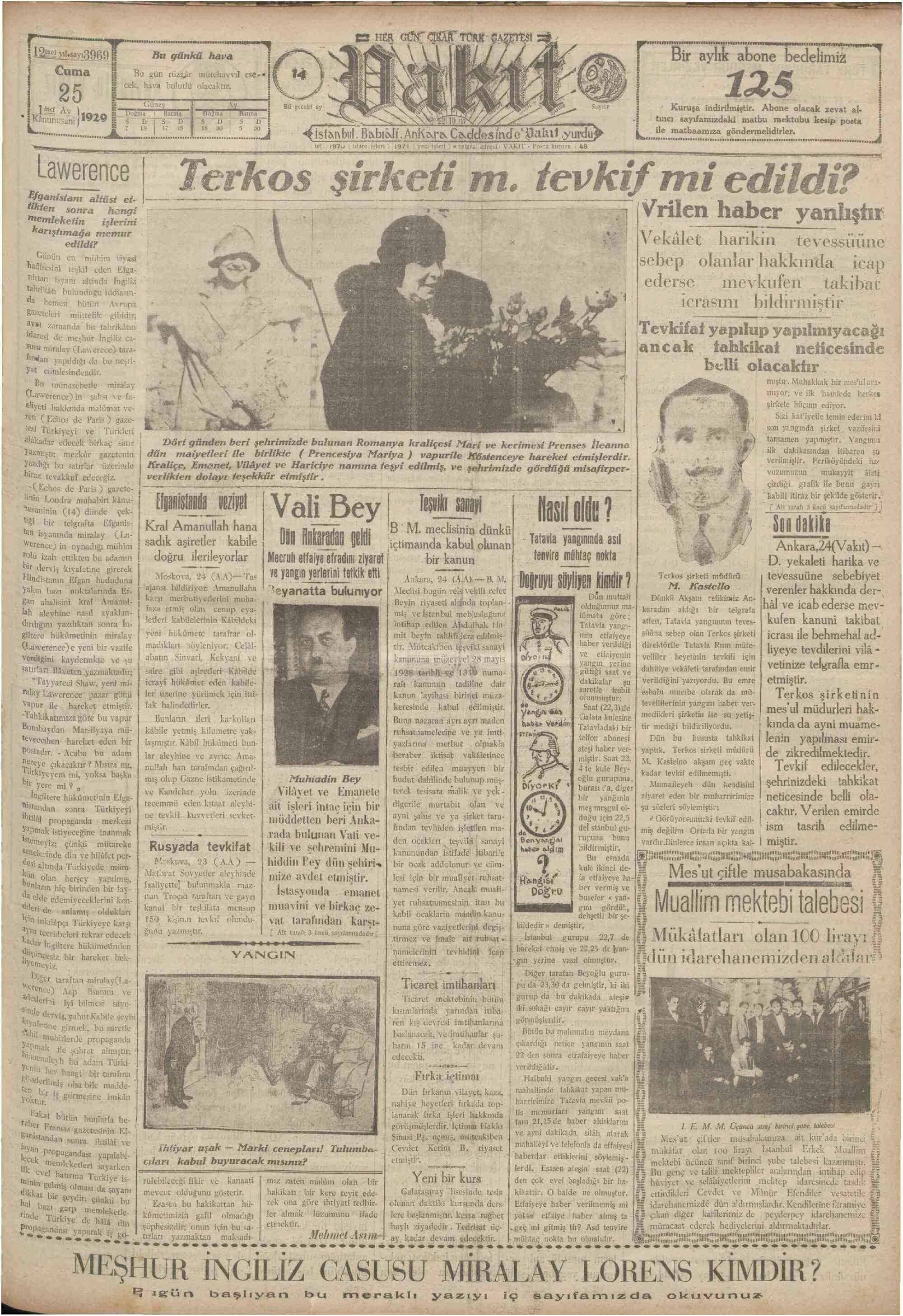25 Ocak 1929 Tarihli Vakit Gazetesi Sayfa 1