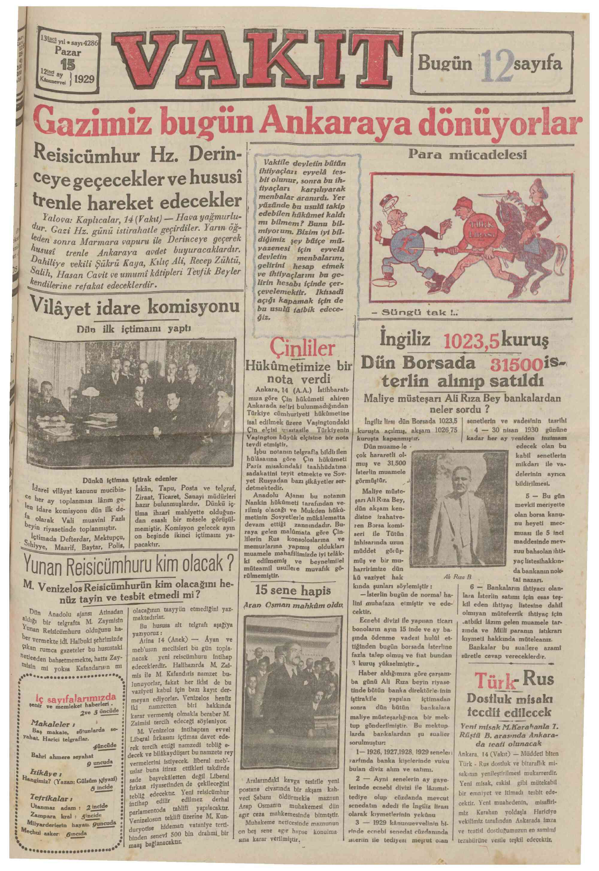 15 Aralık 1929 Tarihli Vakit Gazetesi Sayfa 1