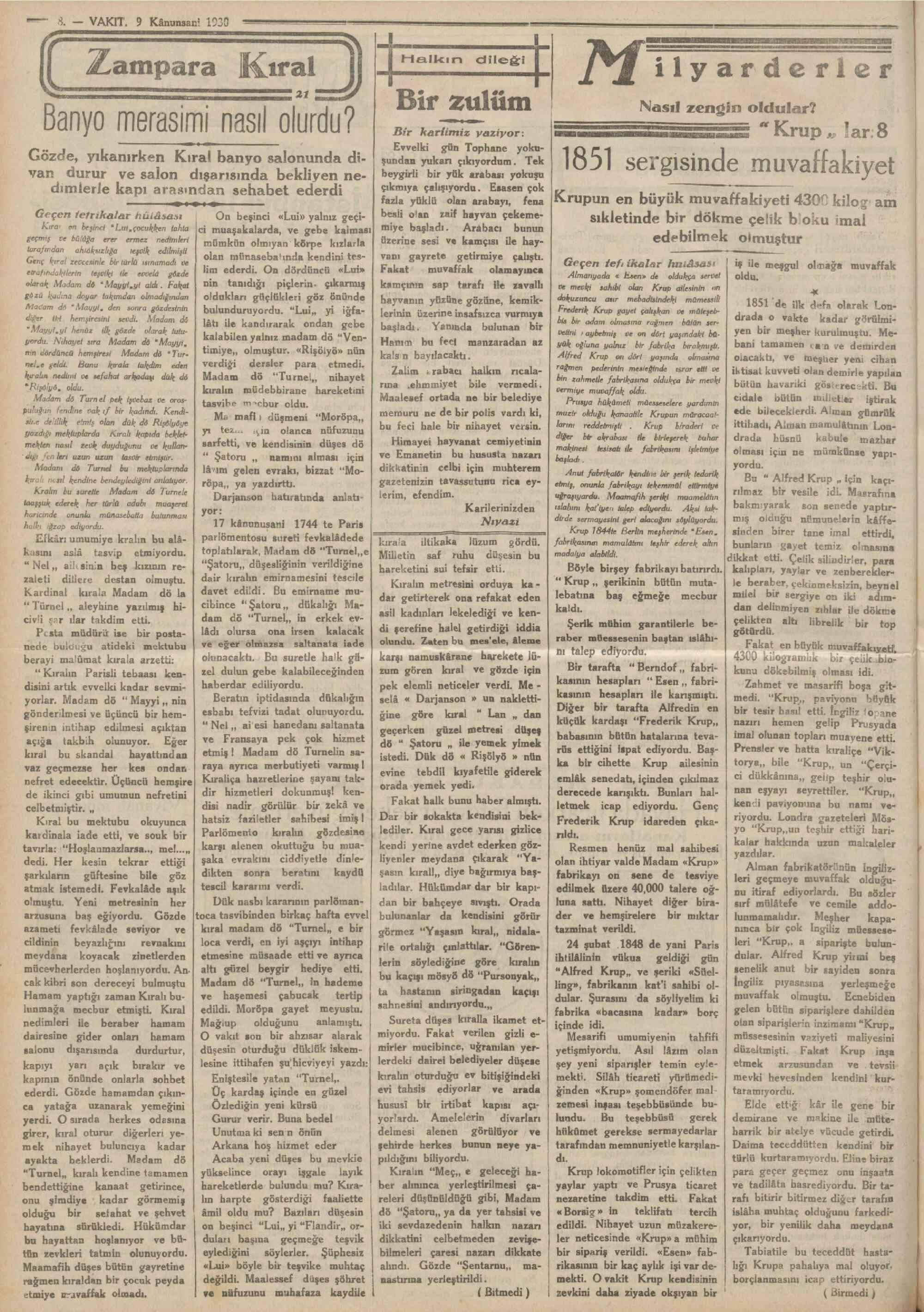 9 Ocak 1930 Tarihli Vakit Gazetesi Sayfa 8