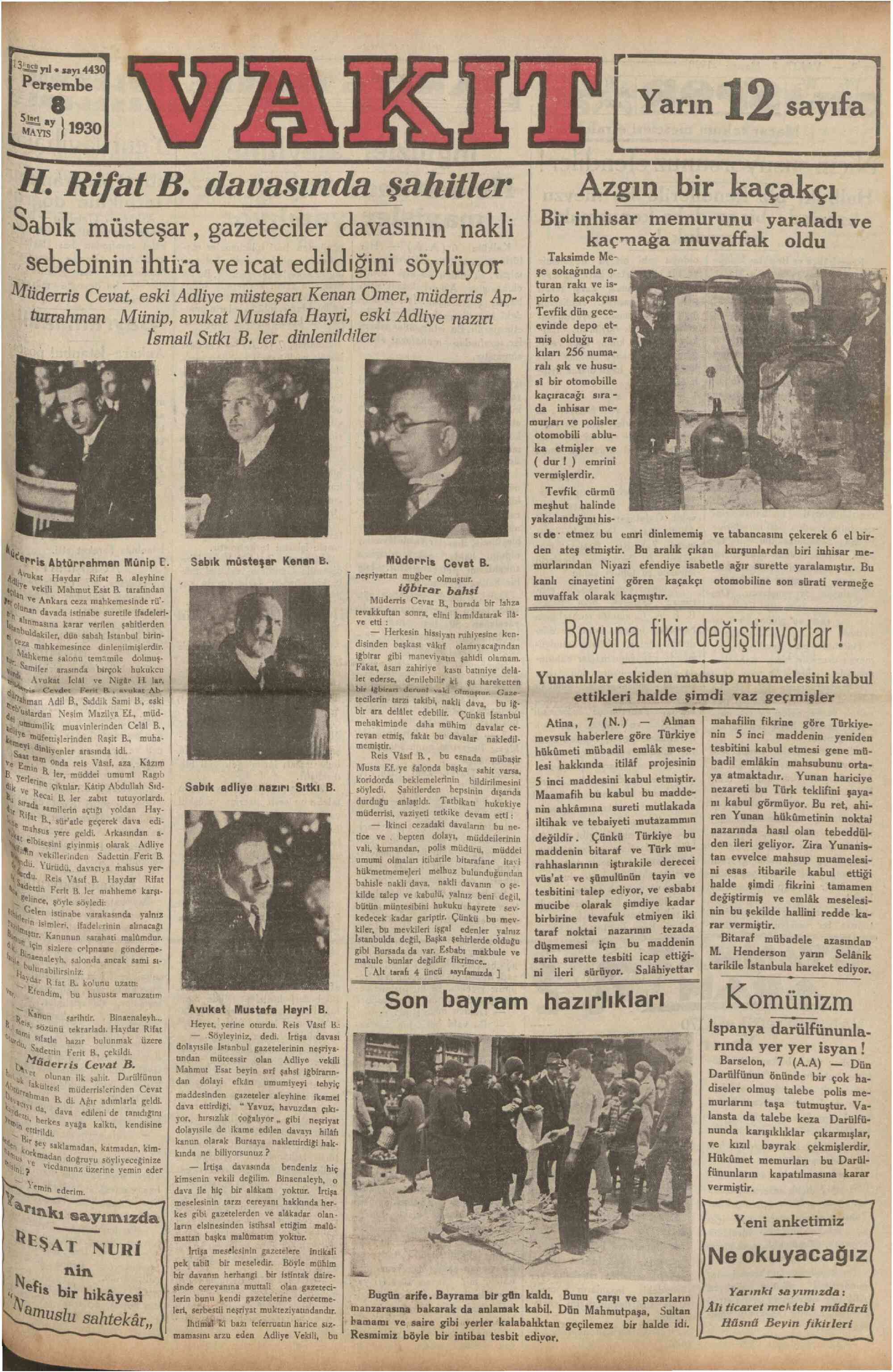 8 Mayıs 1930 tarihli Vakit Gazetesi Sayfa 1