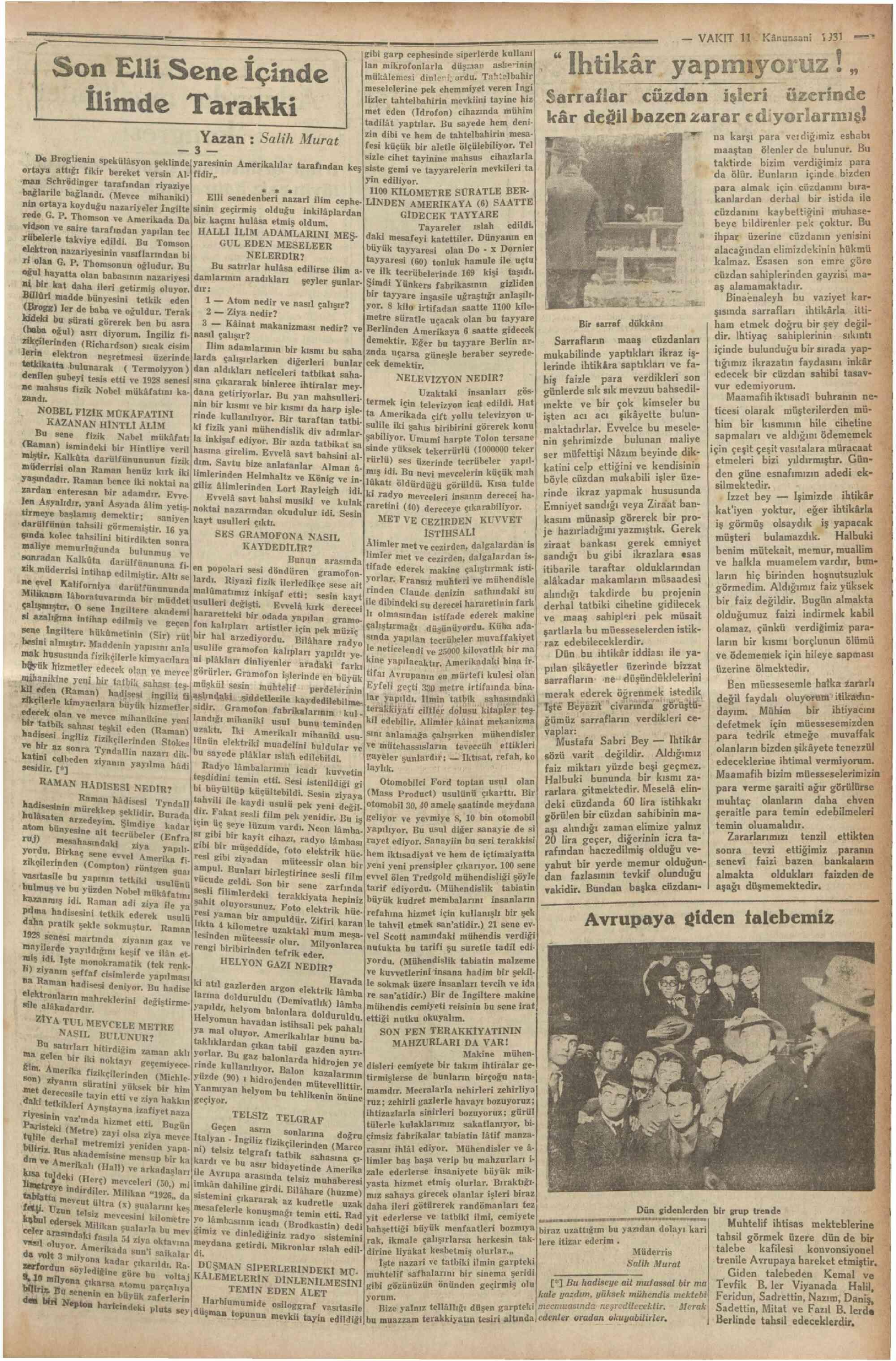 11 Ocak 1931 Tarihli Vakit Gazetesi Sayfa 7