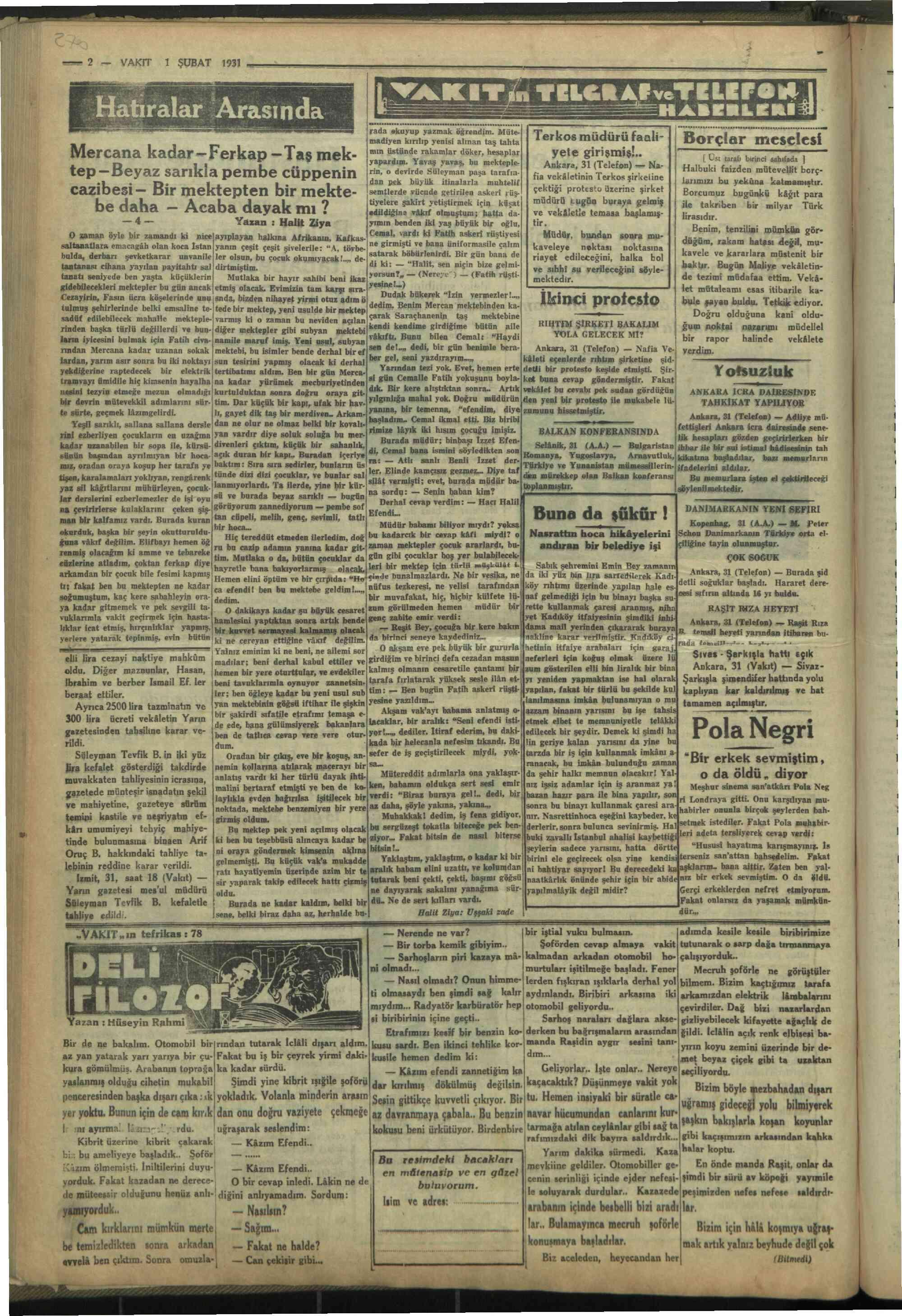 1 Şubat 1931 Tarihli Vakit Gazetesi Sayfa 2