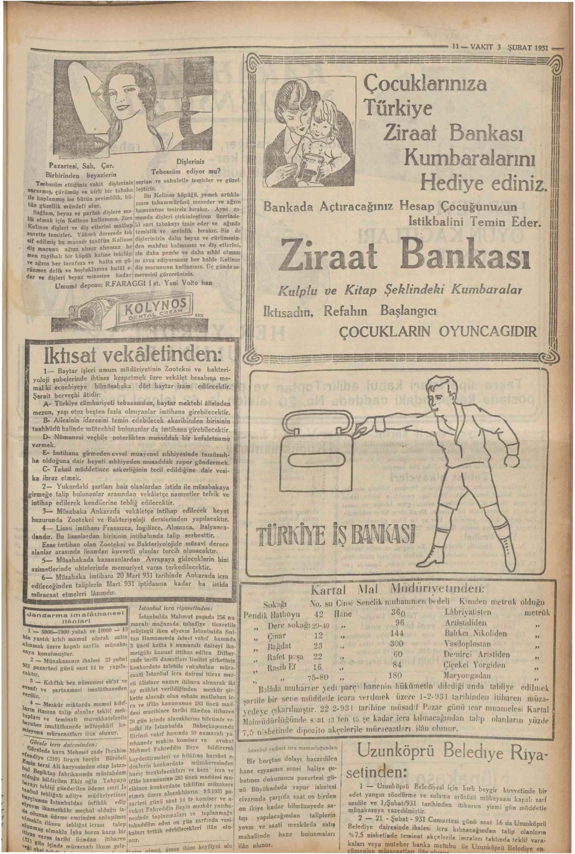 3 Şubat 1931 Tarihli Vakit Gazetesi Sayfa 7