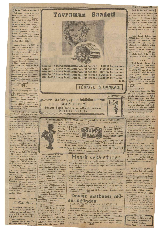 26 Temmuz 1931 Tarihli Vakit Gazetesi Sayfa 11
