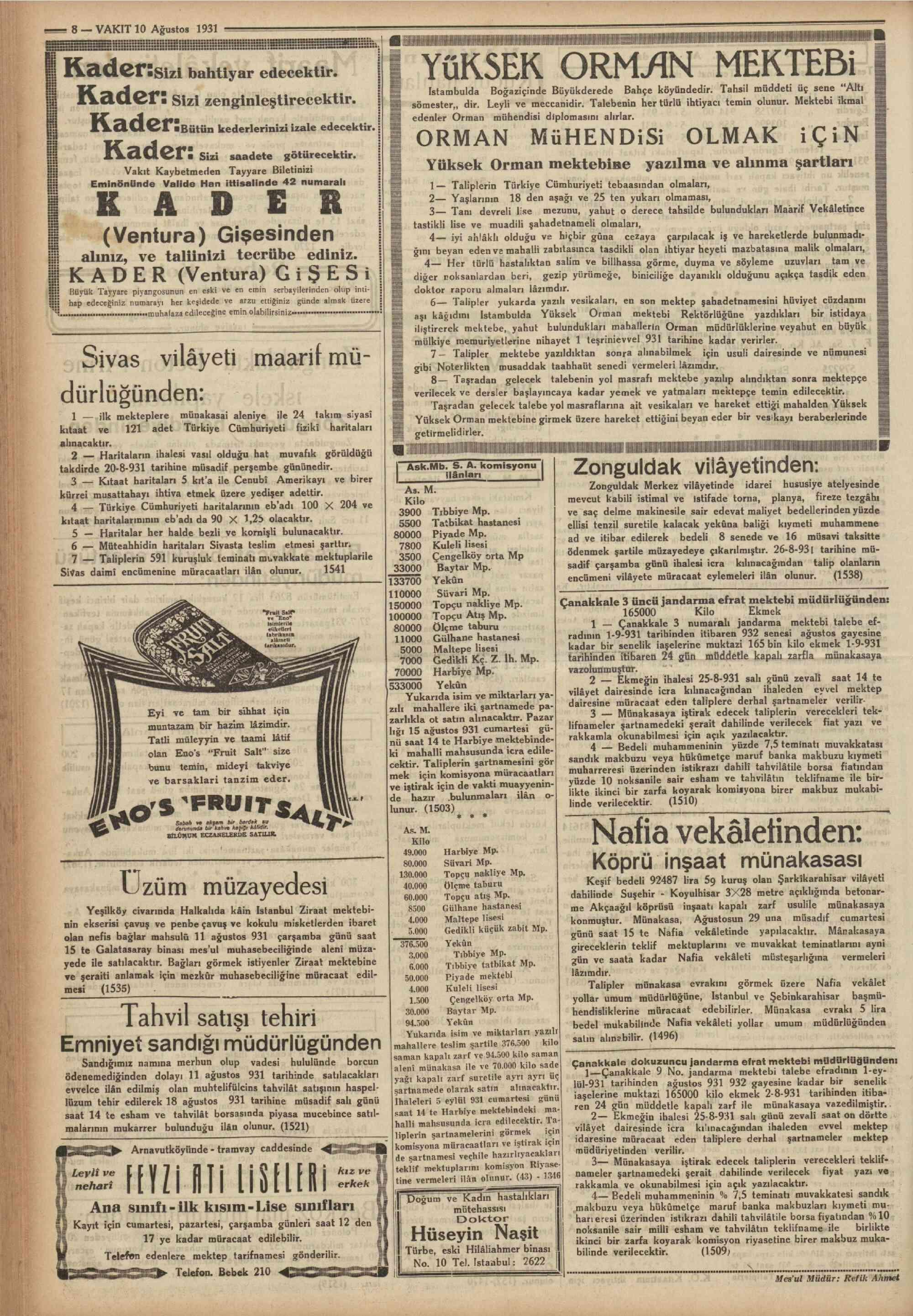 11 Ağustos 1931 Tarihli Vakit Gazetesi Sayfa 1