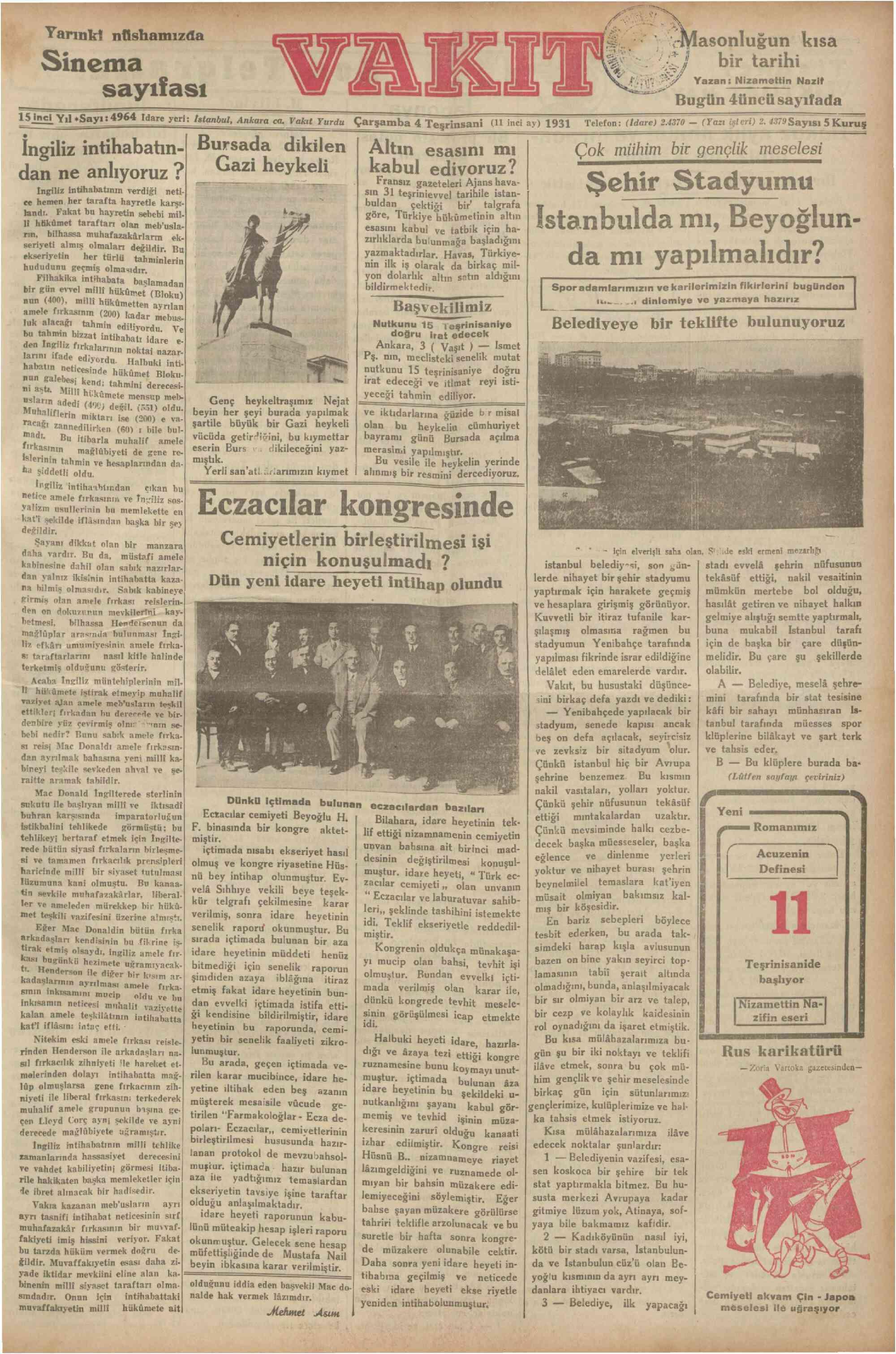4 Kasım 1931 tarihli Vakit Gazetesi Sayfa 1